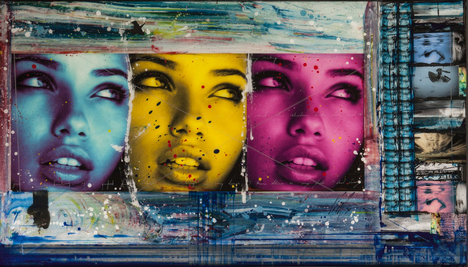 "Adriana triptych, 2010 Archival print, ink, acrylic paint, encased in resin. 48 x 84""."