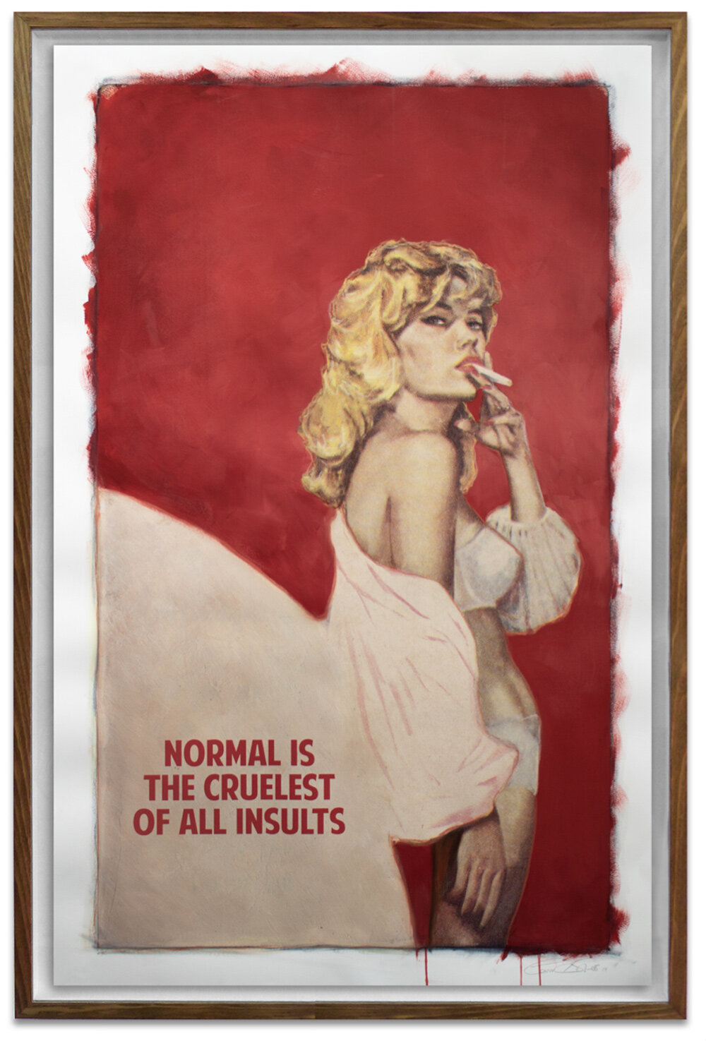"""Normal is the Cruelest of All Insults, 2019. Giclée, screen print acrylic and oil and  varnish on paper. 55 x 36"""""""