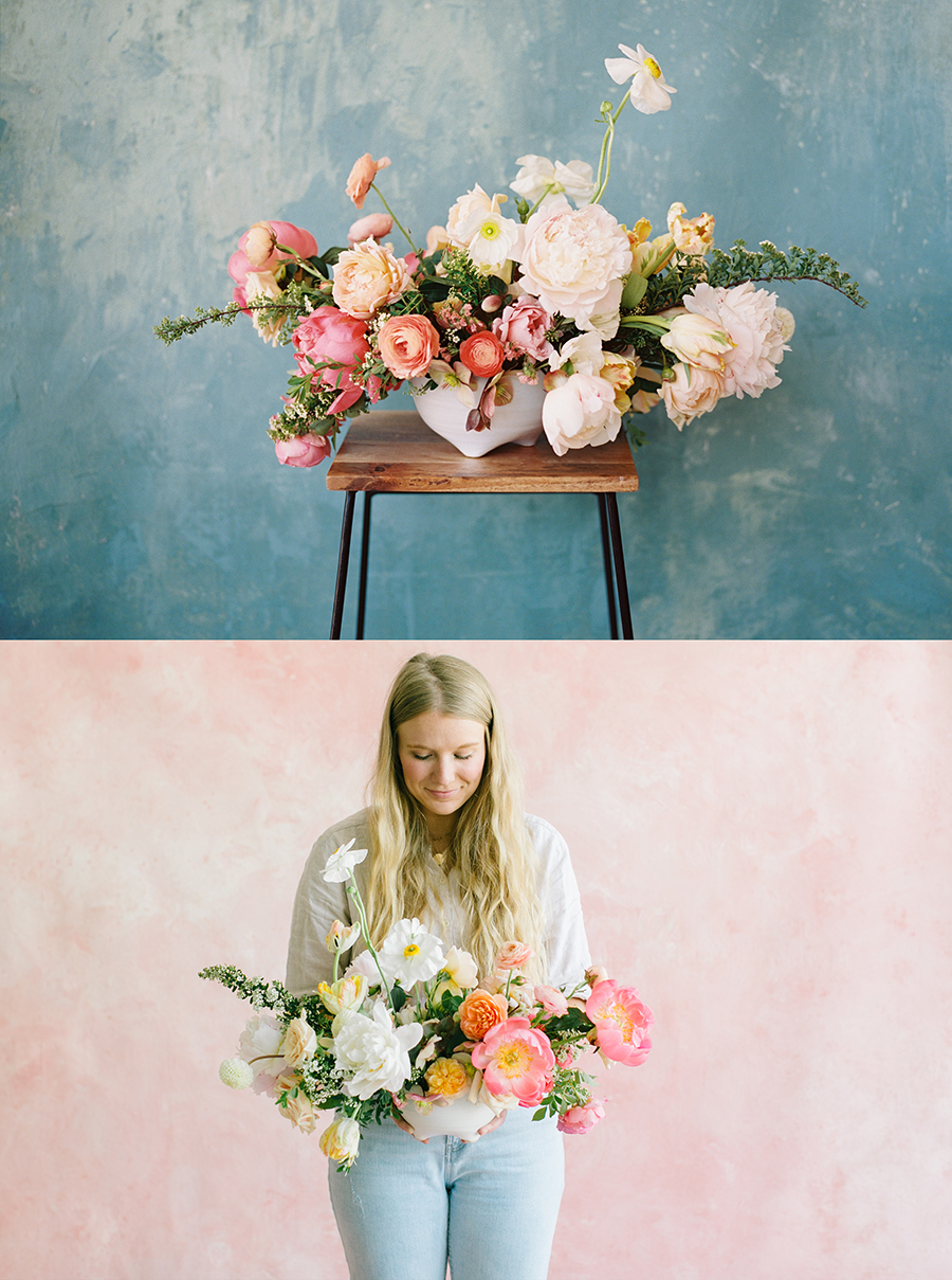 florist holding bouquet in front of a pink custom painted backdrop in white rentable studio in livermore ca.jpg