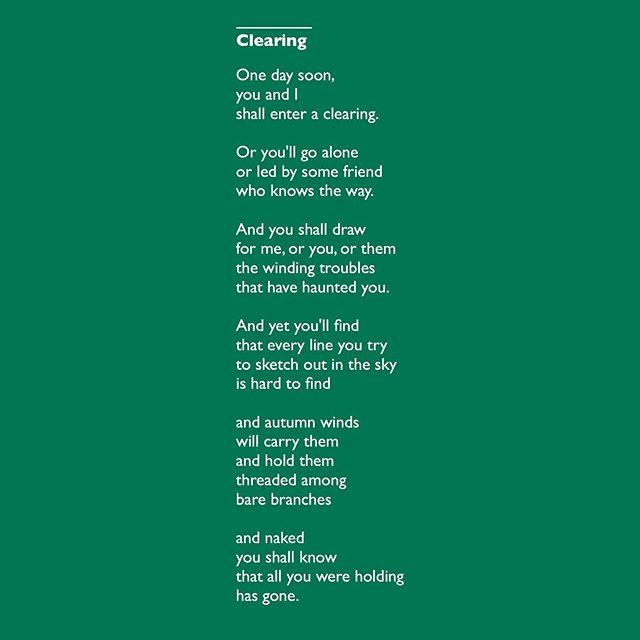 #newpoetry #clearing