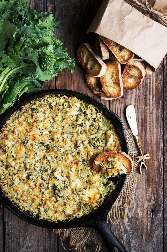 Rapini Artichoke Cheese Dip