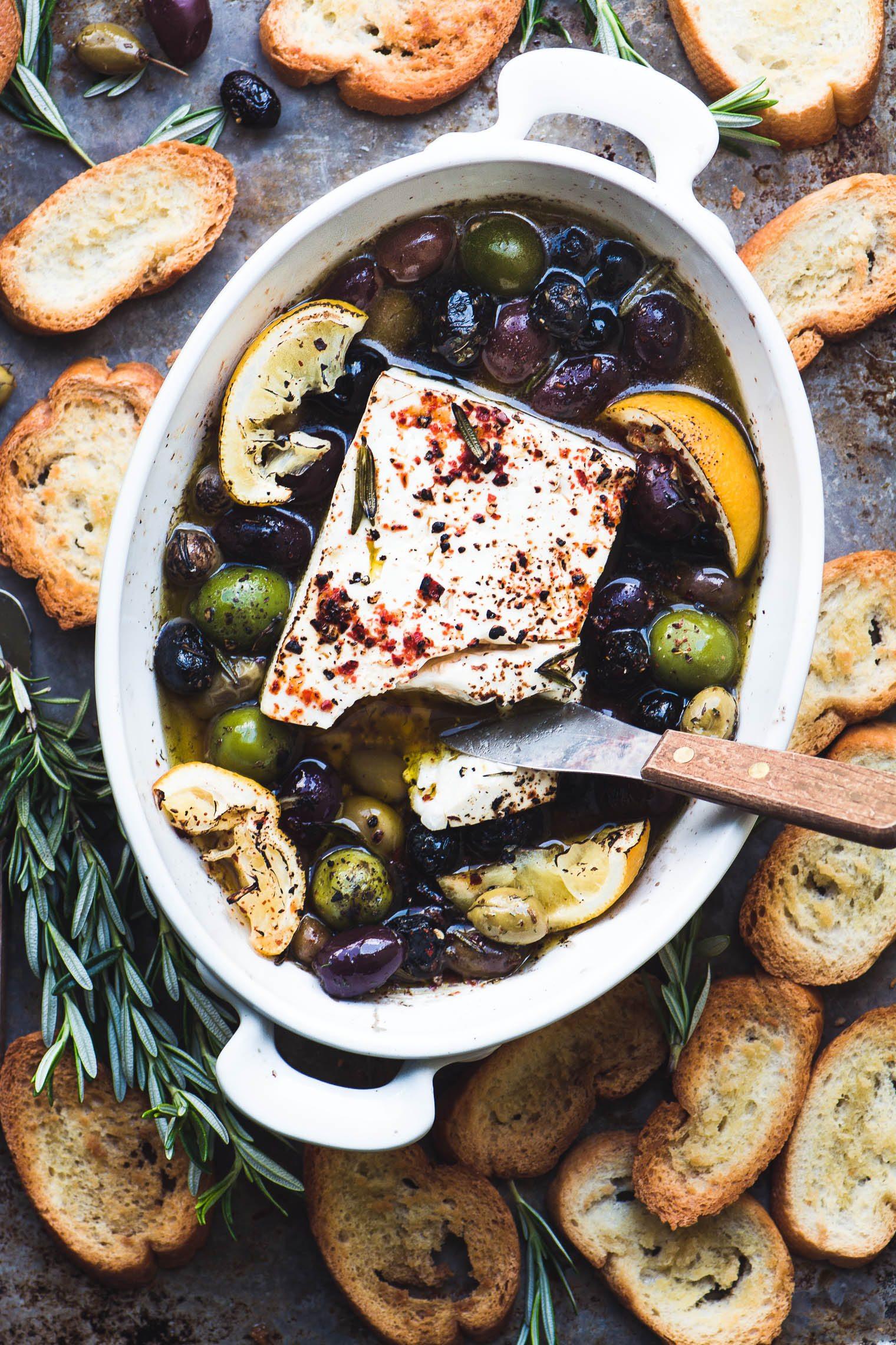Baked Feta with Olives and Lemon