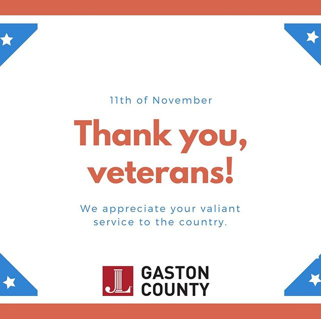 Happy Veteran's Day from Junior League of Gaston County! We appreciation all veterans for their service to our country!