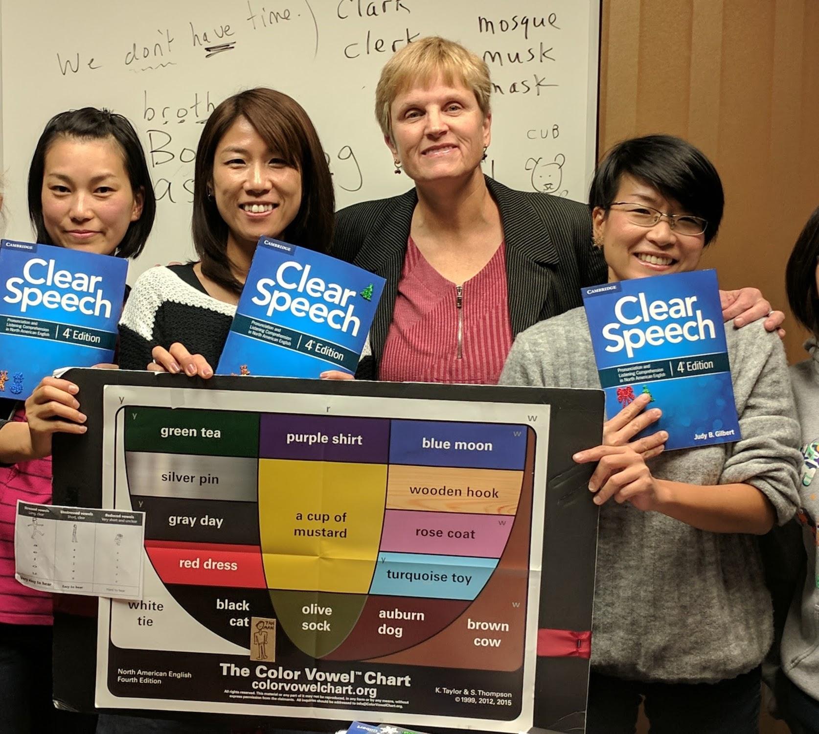 Liz Bigler, of Bigler ESL, teaching intensive accent reduction course to Japanese speakers of English