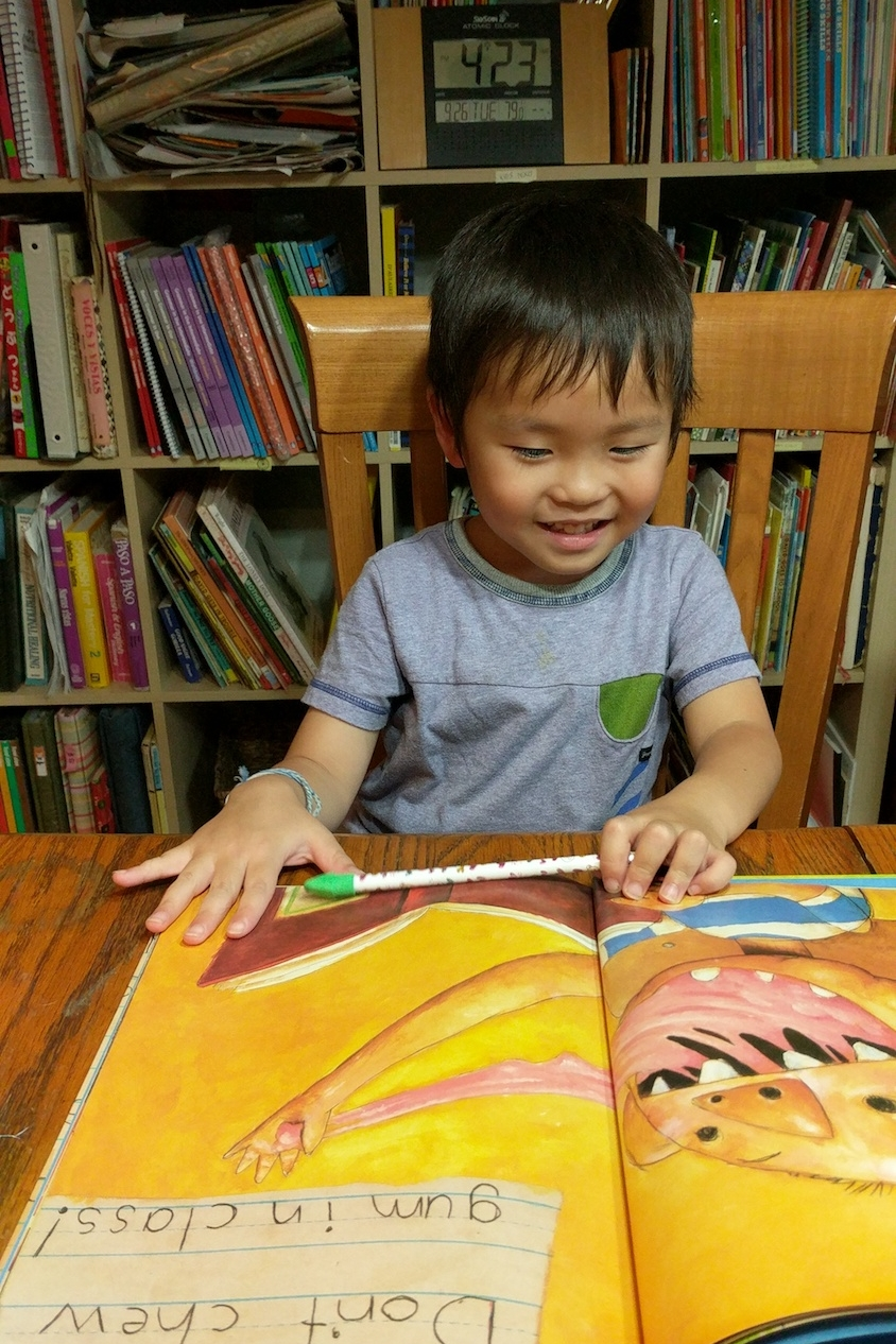 Japanese child enjoying English lessons at Bigler ESL