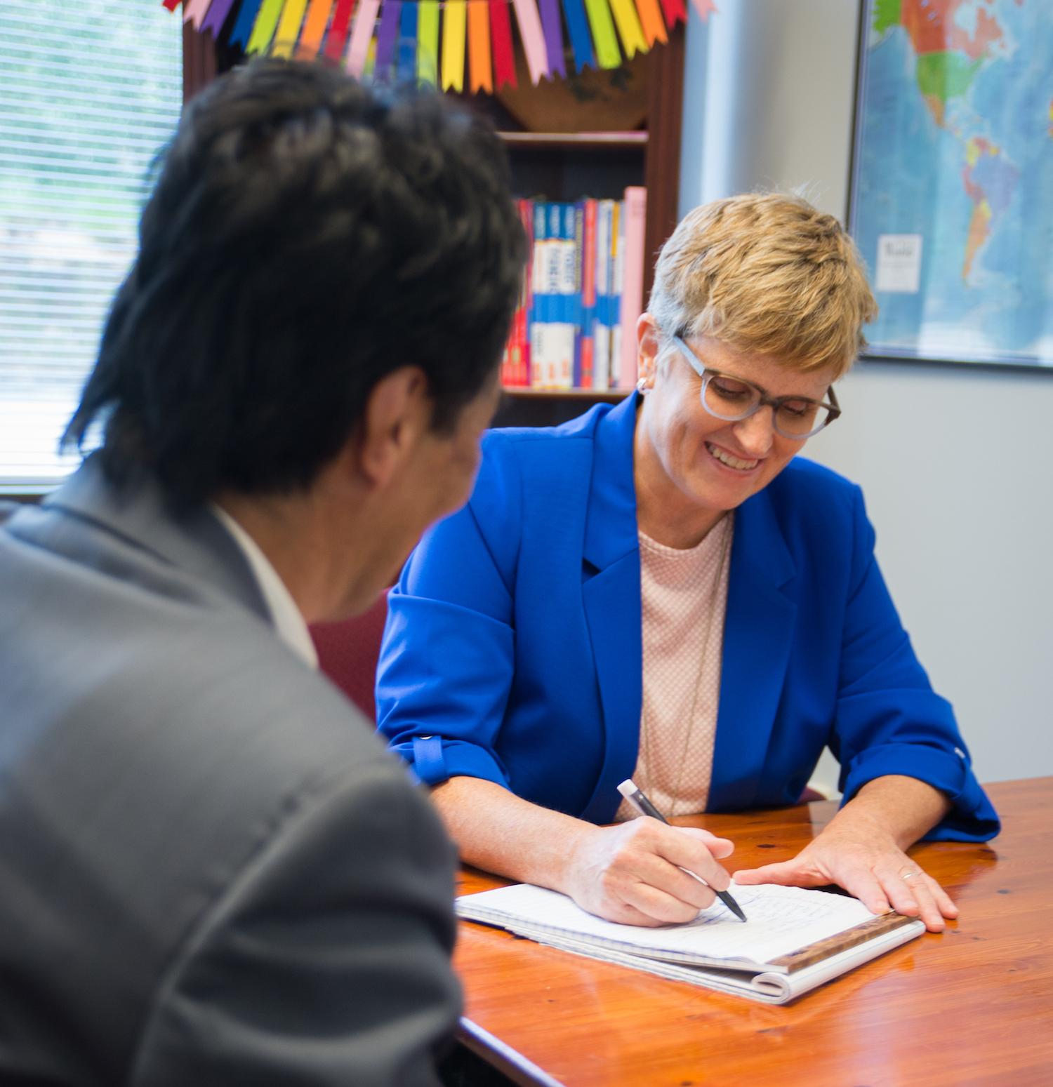 Liz Bigler of Bigler ESL teaching private English lesson for a Japanese Student