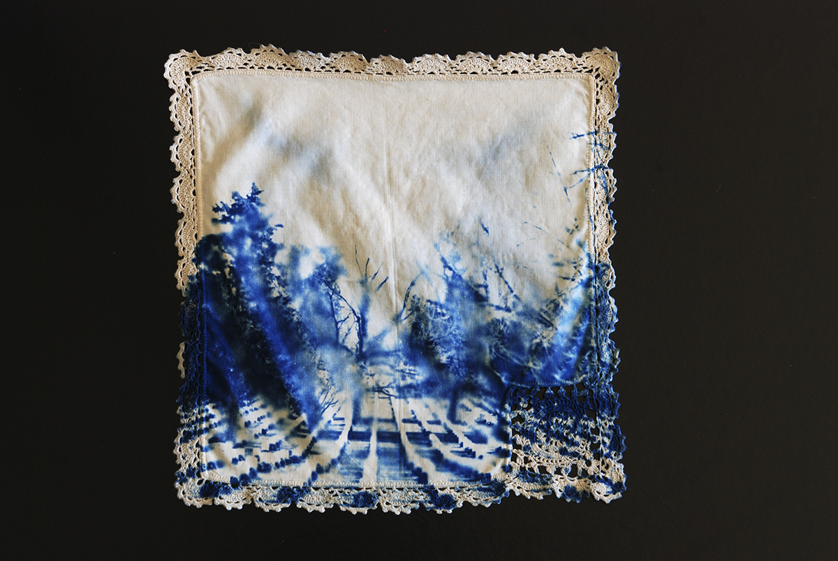 Cyanotype Hankerchief, from installation I Really Was There; I Was Never Really There