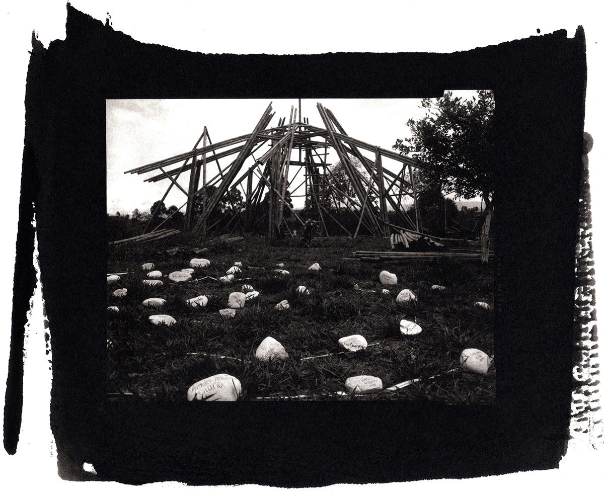 Memorial site of white stones dedicated to the Nasa indigenous people massacred at the Naya reservation/Dxiite vxak yath vxithnixi ksxåbuçx yeçyewezx nasa (Nasa Yuwe Language)