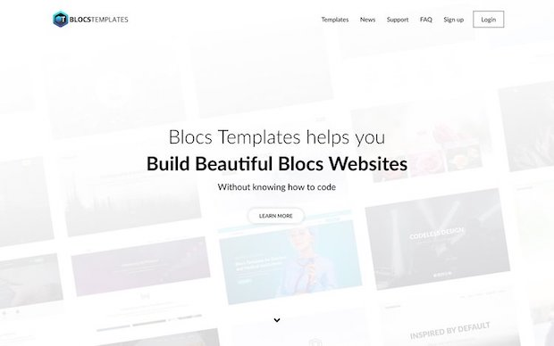 Blocs Templates - One of the first versions of the Blocs Templates website from 2016 represents what I like in web design: stylish simplicity and efficient minimalism.