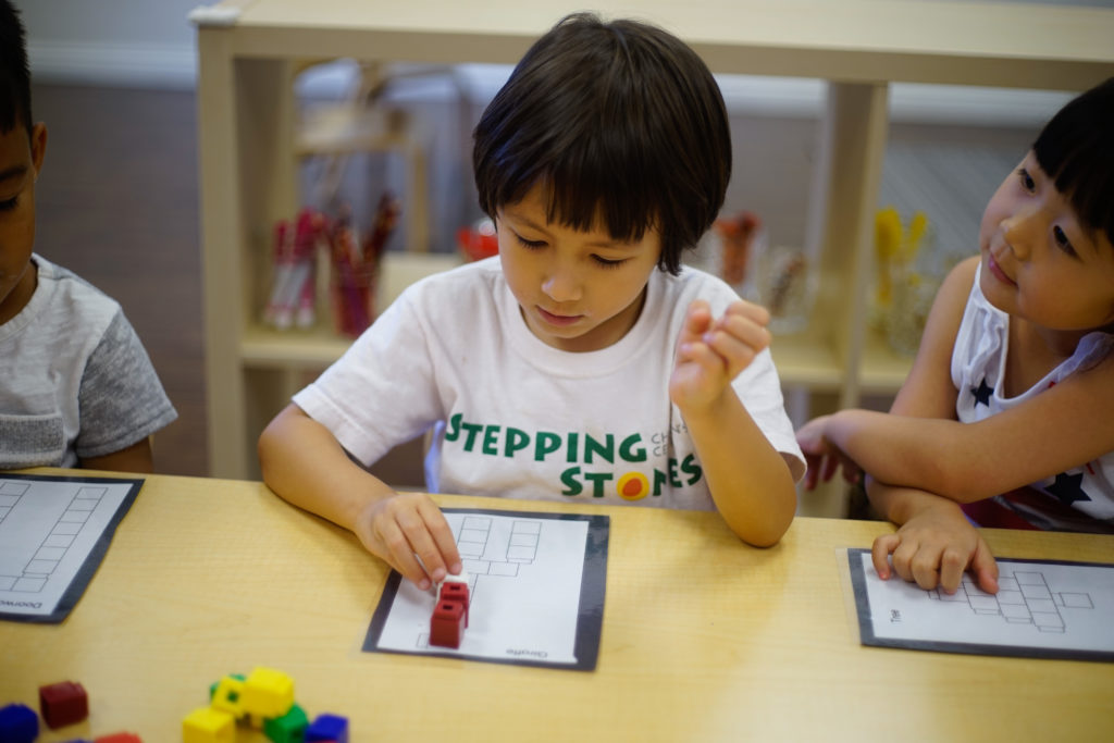 Pre-Kindergarten (4 to 5 years old) - Pre-Kindergarteners display a rapid growth in their cognitive and social skills as they prepare for higher learning. Building onto their experiences in Early Preschool and Preschool, our Pre-Kindergarteners begin to show competence in early literacy and math concepts. Our Stepping Stones Phonics and Math curriculum are refinedto accommodate the learning abilities of our Pre-Kindergarten children. Whole-group and small group learning opportunities are thoughtfully intertwined into our Pre-Kindergarten program, cultivating cooperative learning skills which will become valuable in their continuous years of learning. Various imaginative and unique learning activities foster their continuous growth in their creative development.