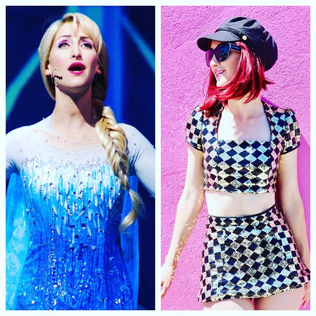 **UPDATE** This week blonde & blue today 7/24, Friday, & SUNday/ then red & mini-skirted this Thurs & Sat! 😃 She will be STILL be sequined for the gawds ❄️ #frozenliveatthehyperion #umpoclueless #rockwelltableandstage #whoami 🤷🏼‍♀️ 📷 = @disneywithkate / @mybrytography ❤️💙