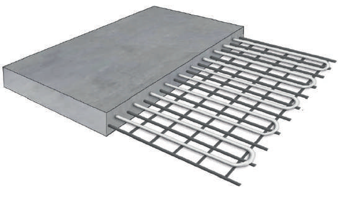 In Slab - In slab floor heating is the standard method for hydronic underfloor heating.Pipes are secured to slab steel reinforcment200mm apart, in either a spiral or serpentinelayout at lengths no more than 100m. Concrete is then poured encasing the underfloor pipe whilst creating a structural slab to build on. Once connected to the boiler hot water flows through the underfloor pipework, transferring heat into the concrete slab.