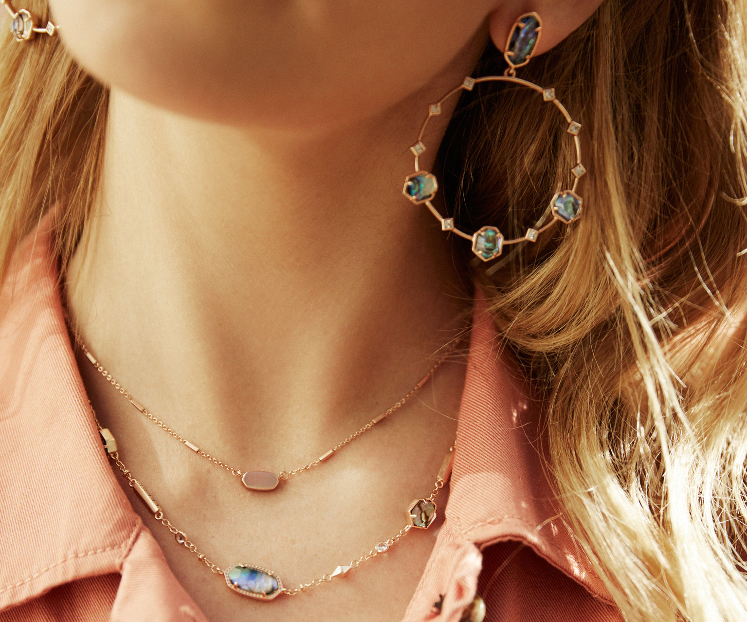 Rose Gold and Abalone Shell Jewelry