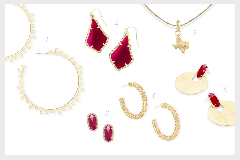 1.    Lynne Hoop Earrings in Gold   , 2.    Alex Drop Earrings in Maroon Jade   , 3.    Ellie Gold Stud Earrings in Maroon Jade   , 4.    Maggie Small Hoop Earrings in Gold   , 5.    State of Texas Charm with Thin Adjustable Chain Necklace in Gold   , 6.    Deena Gold Statement Earrings in Maroon Jade