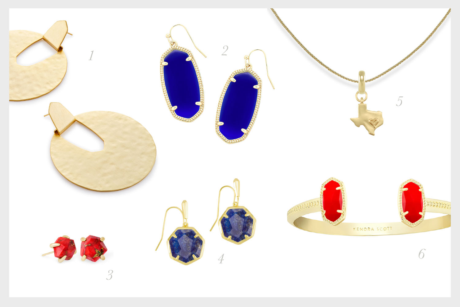 1.    Diane Statement Earrings in Gold   , 2.    Elle Drop Earrings in Cobalt Cat's Eye   , 3.    Ellms Gold Small Stud Earrings in Bronze Veined Red Magnesite    4.    Cynthia Gold Drop Earrings in Lapis    5.    State of Texas Charm with Thin Adjustable Chain Necklace in Gold    6.    Elton Gold Cuff Bracelet in Bright Red