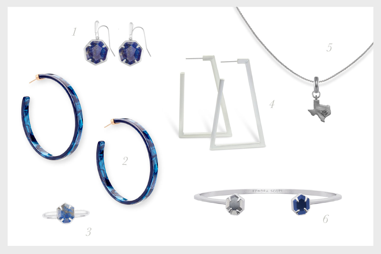 1.    Cynthia Rhodium Drop Earrings in Lapis   , 2.    Kash Hoop Earrings in Navy Acetate   , 3.    Calvin Rhodium Band Ring in Lapis   , 4.    Easton Hoop Earrings in Rhodium   , 5.    Teddy Rhodium Cuff Bracelet in Hematite & Navy Cat's Eye