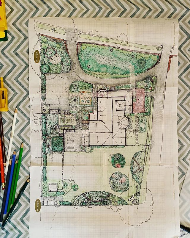 Some Crayola, some grid paper, some dreams of greenery #workinprogress #landscapeplan #landscapeambitions #thenext30years #52weeksofhomeweek25 #52weeksofhome