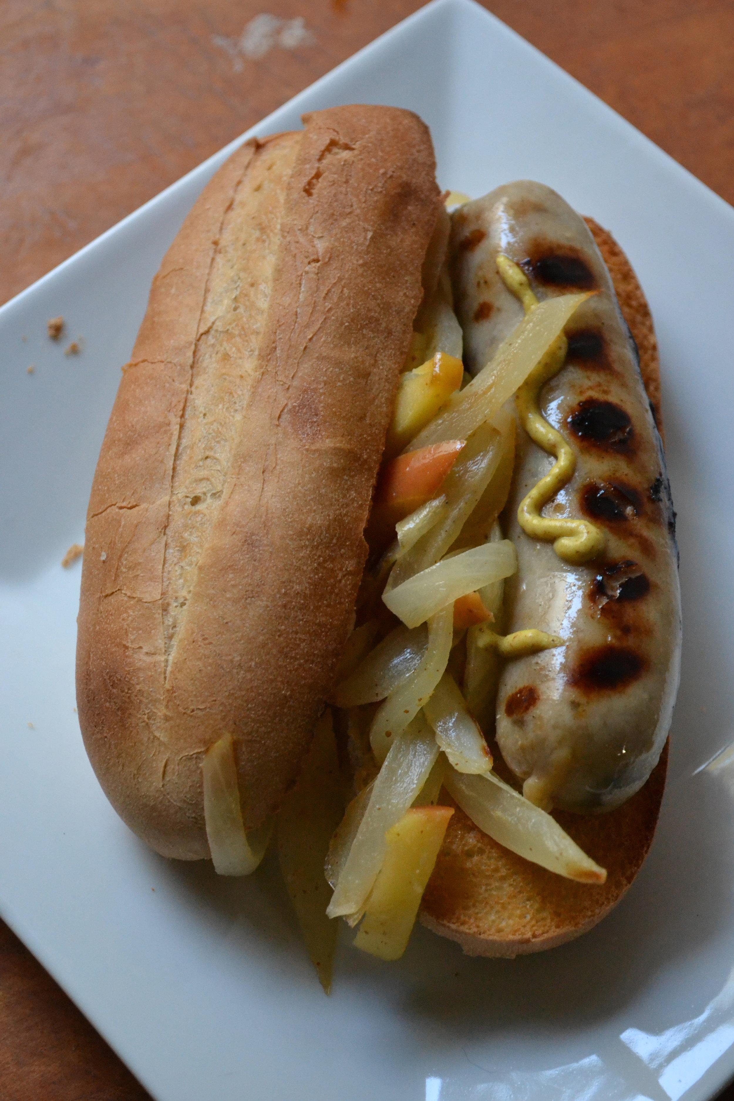 Apple Chicken Sausage Hoagie, super bowl worthy snacks