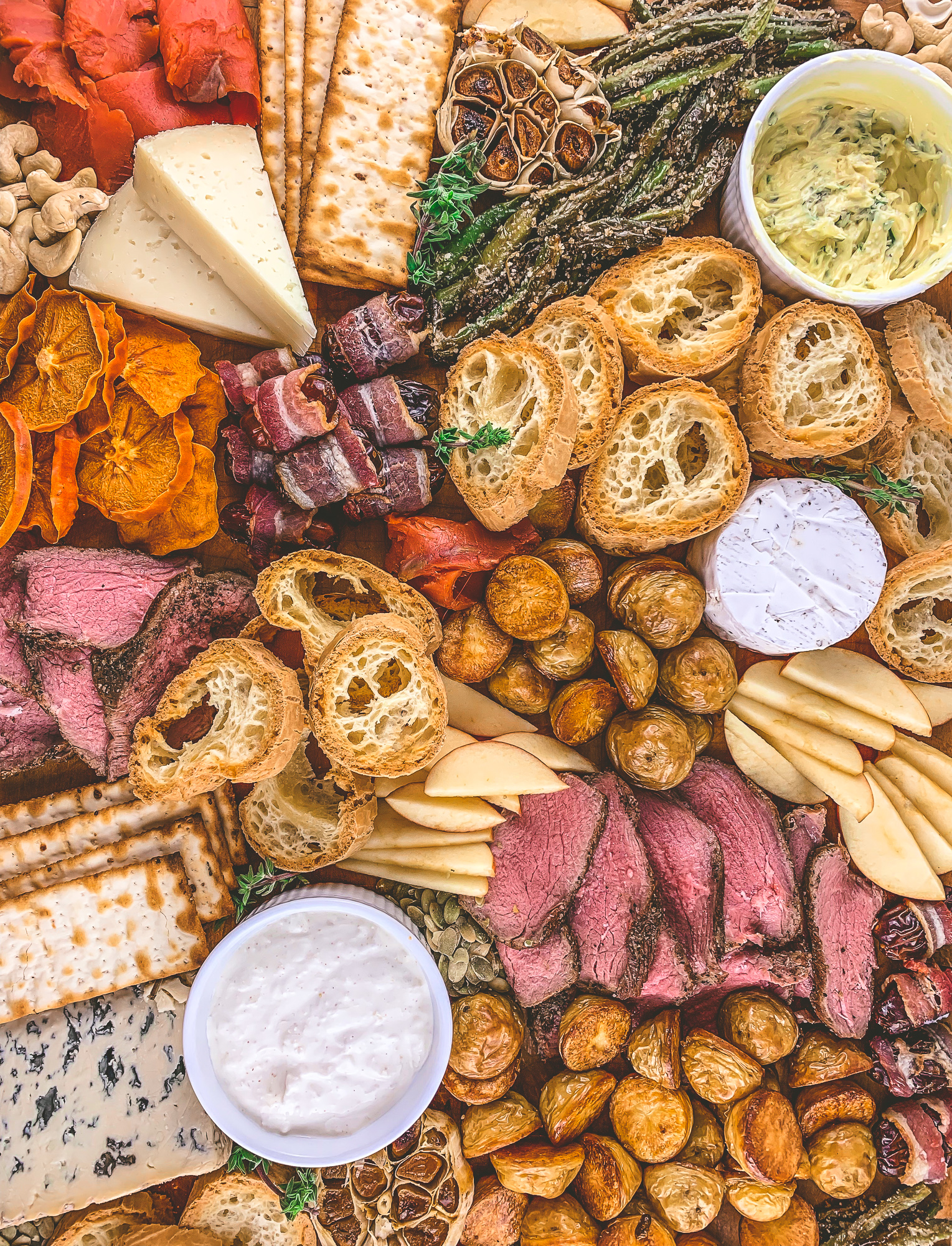 Perfect Holiday Dinner Board, like a cheese or charcuterie board but better because it's dinner, gluten free, christmas, new years eve | BySarahRae.com
