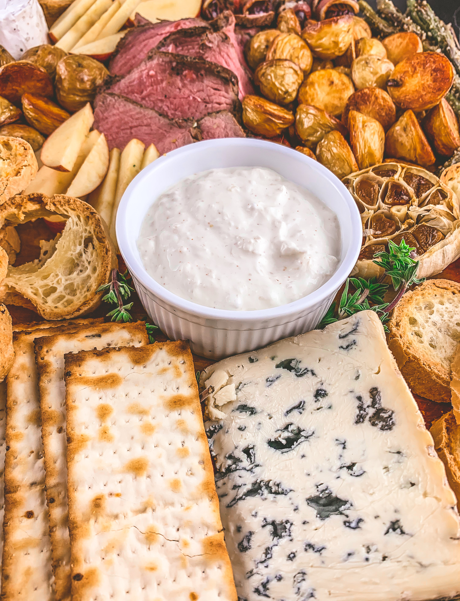 Horseradish dip for a beef centered holiday cheese board that is epic enough to be dinner | BySarahRae.com