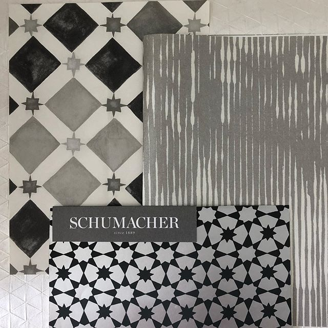 Scheming for a client's 2 stairwells...ceiling with the @schumacher1889 Medina and the walls with the others @cole_and_son_wallpapers and @_black.edition and paint the risers black which will hide scuff marks and look good while doing so