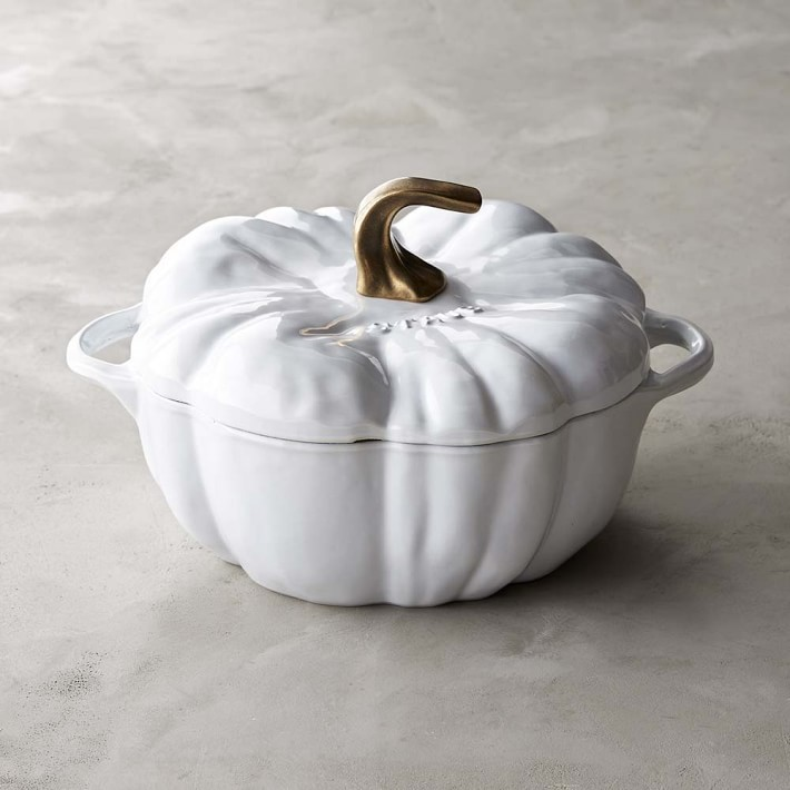 1. Cast-Iron Pumpkin Cocette - This white pumpkin cocotte is definitely number one on my fall wish list. I love how even though it's white, it brings so much fall into the kitchen! It's perfect for making your favorite fall cider or chili and for serving your guests!
