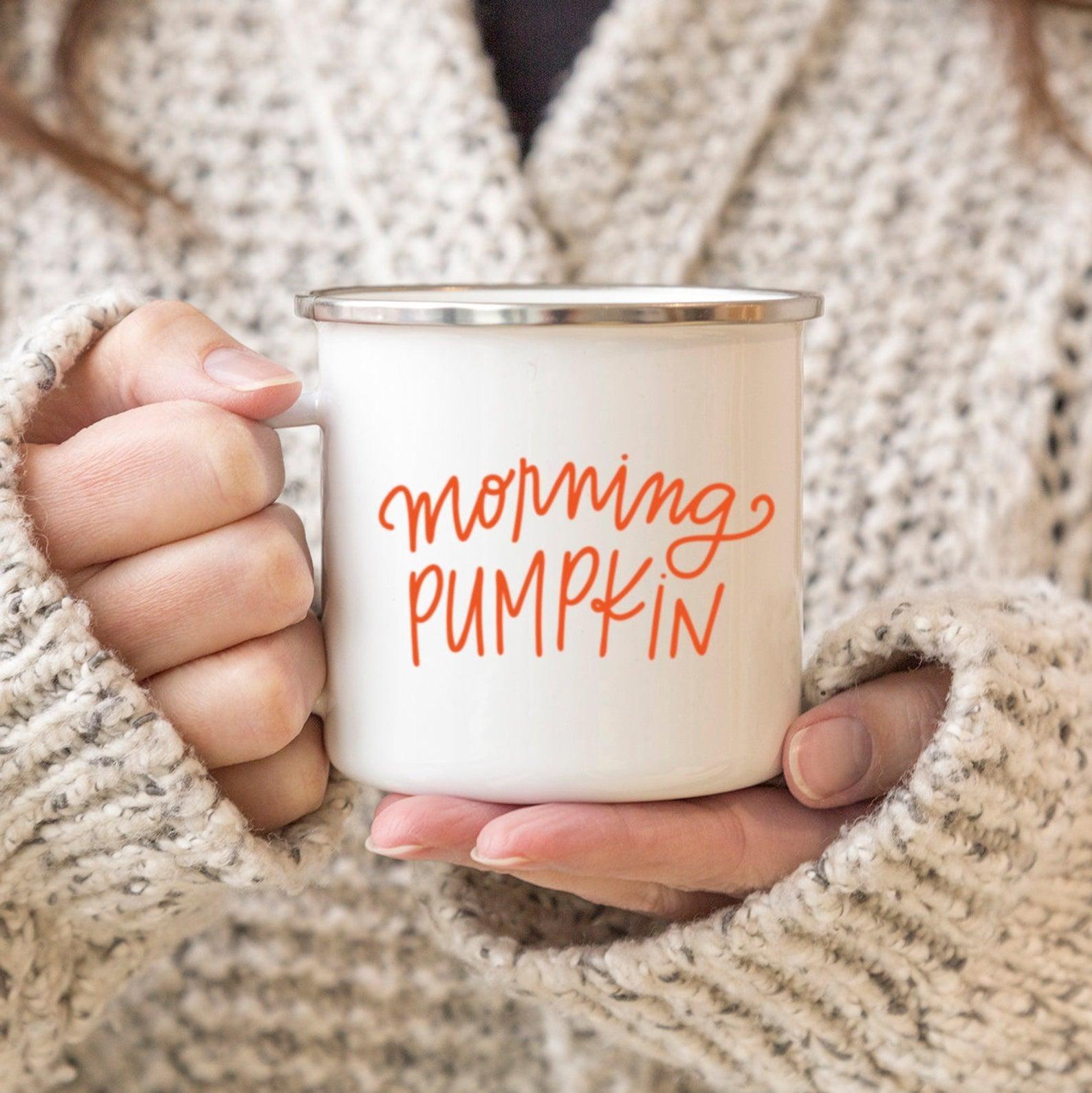 """3.Customizable """"Mornin' Pumpkin"""" Mug - Sipping coffee or tea out of a seasonal mug always seems to make the activity more enjoyable. I love this adorable, customizable mug on Etsy!"""