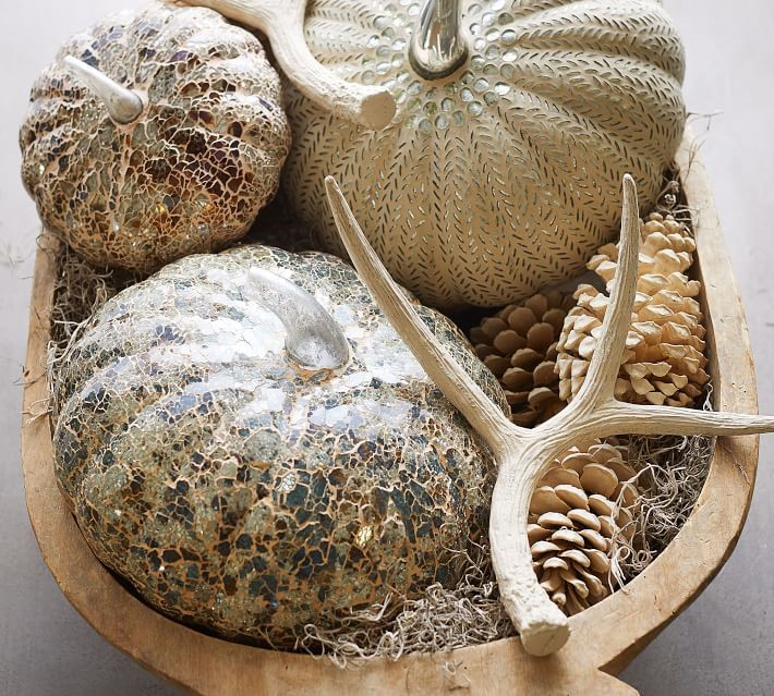 10. Mosaic Pumpkins - These mosaic pumpkins would look beautiful on any tablescape or mantle, especially paired with some twinkle-lights or garland!