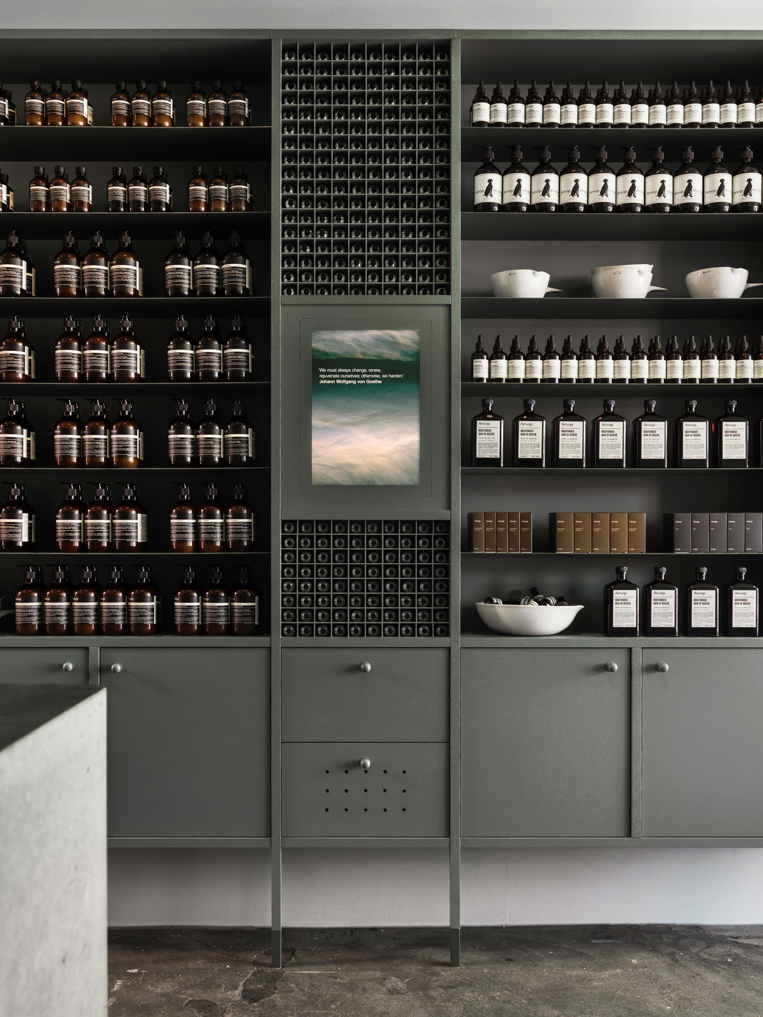 Aesop places more emphasis on efficacy as opposed to the natural status of their product. Photography by Trevor Mein via  Yellow Trace.