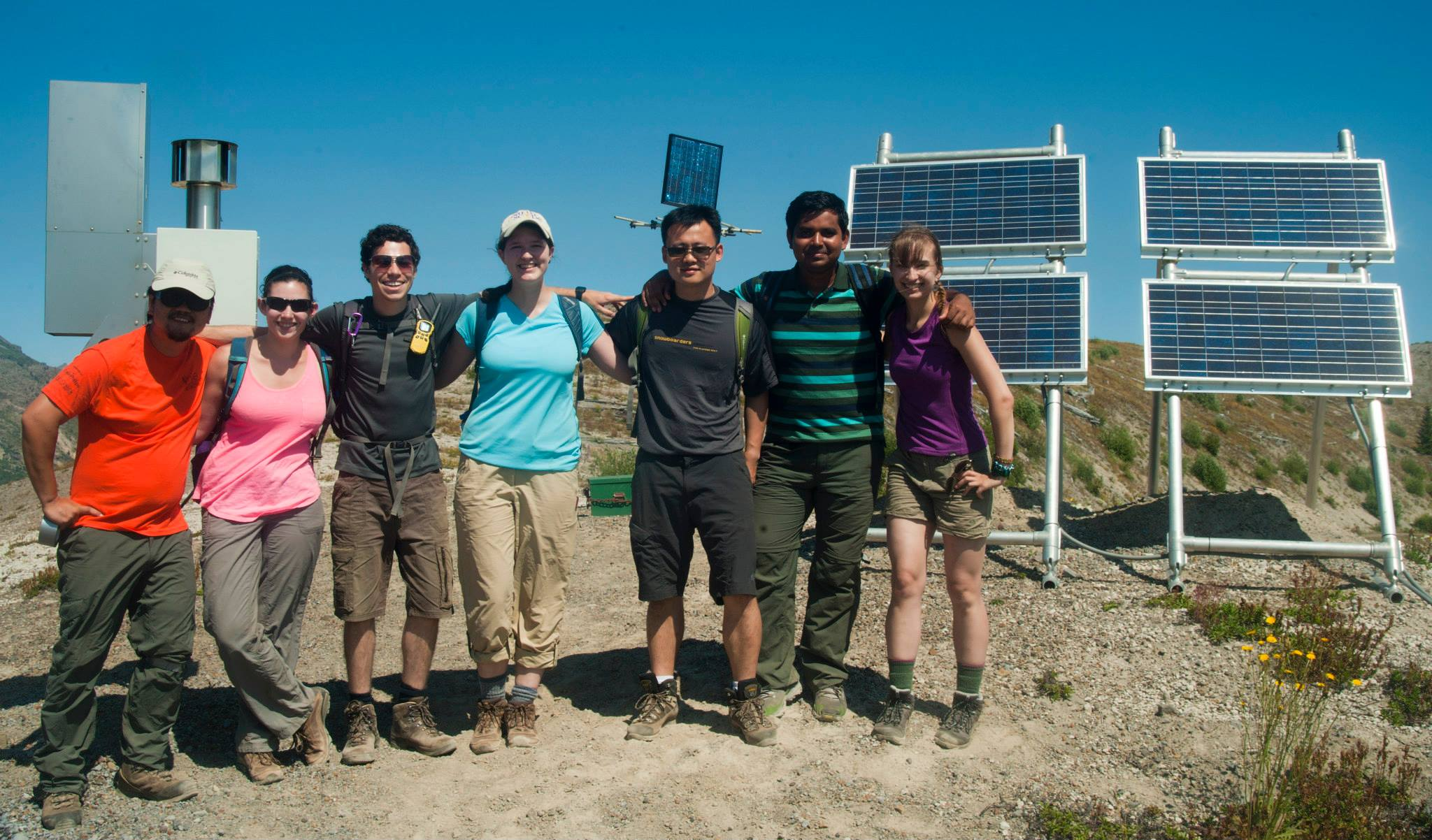 With fellow seismology students in Washington State