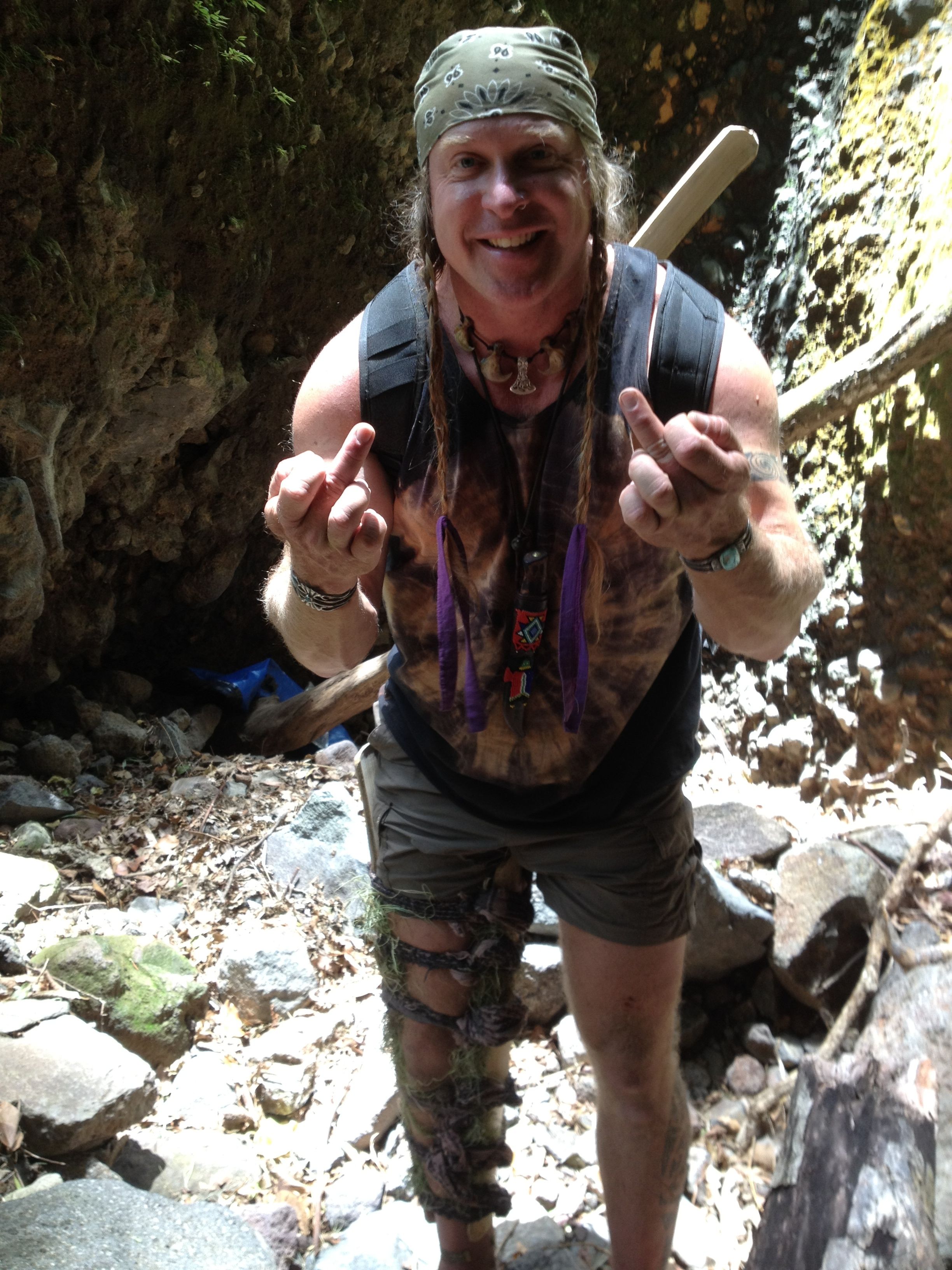 During downtime Cody Lundin poses for a photo.  Photo taken by Will Kaufman on location of Dual Survival Season 3.