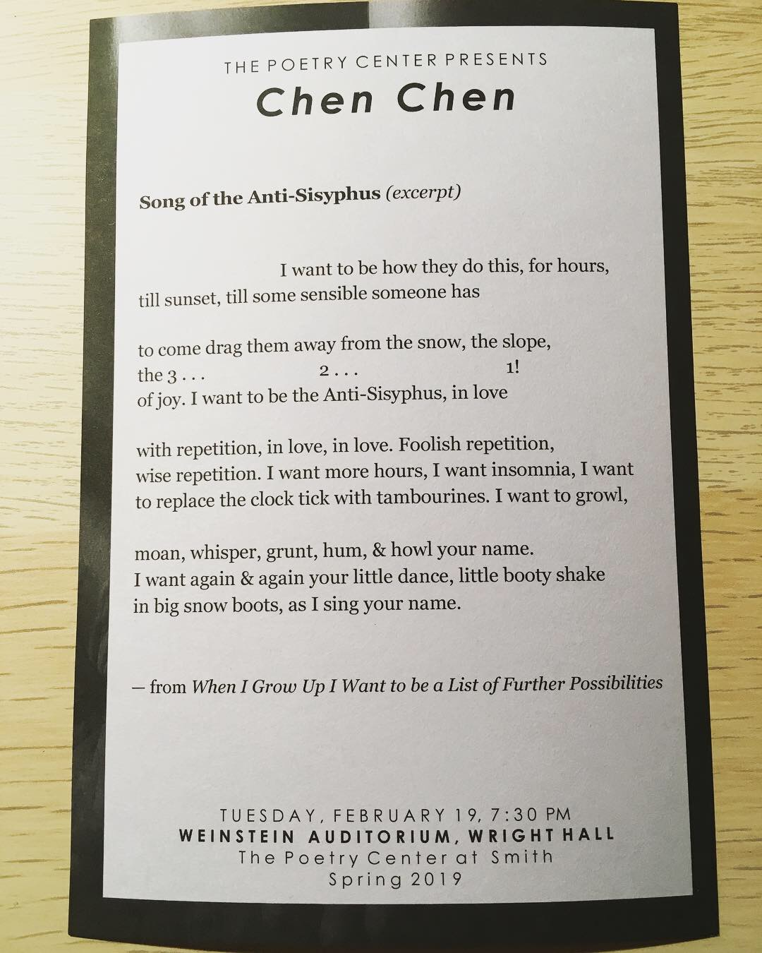 Smith Poetry Center card - Song of the Anti-Sisyphus.JPG