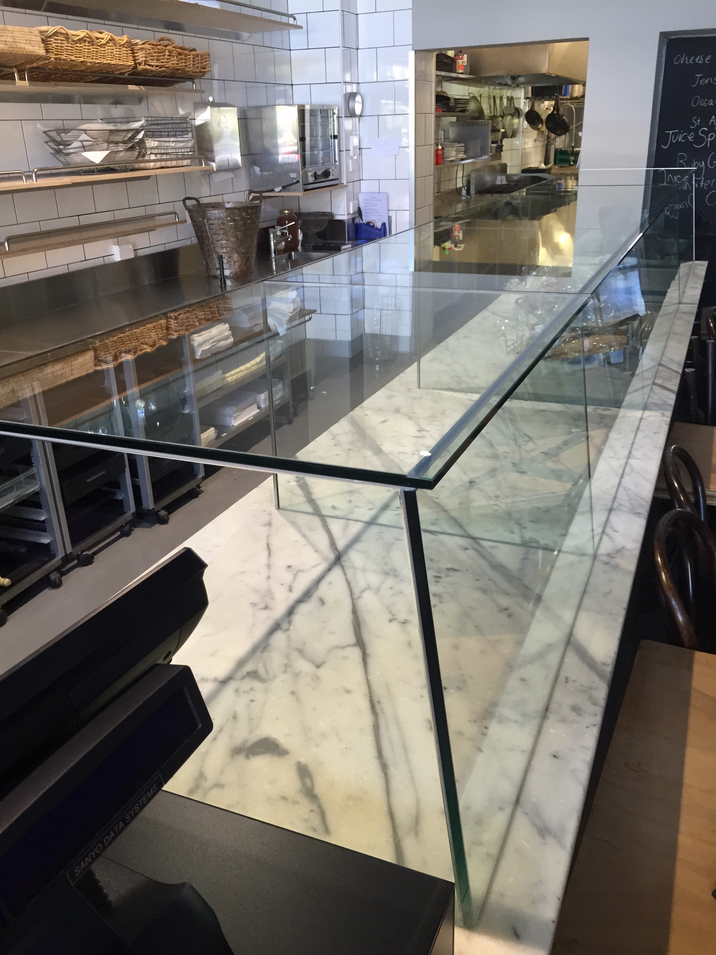 Toughened glass food display cabinet