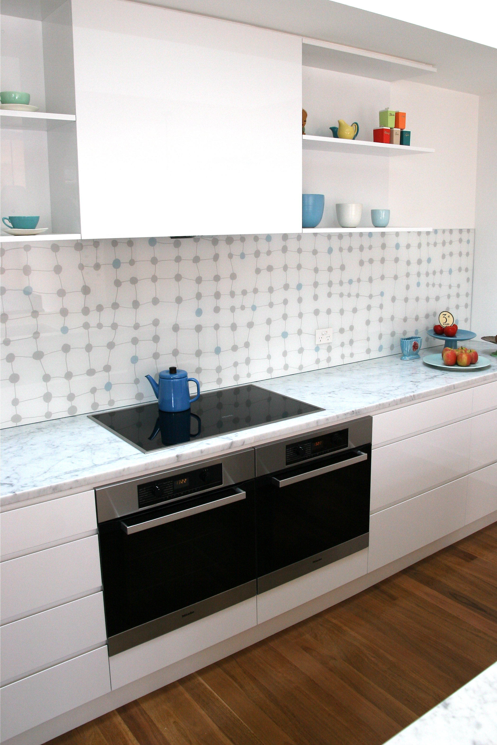Hand painted splashback collaboratively designed with client