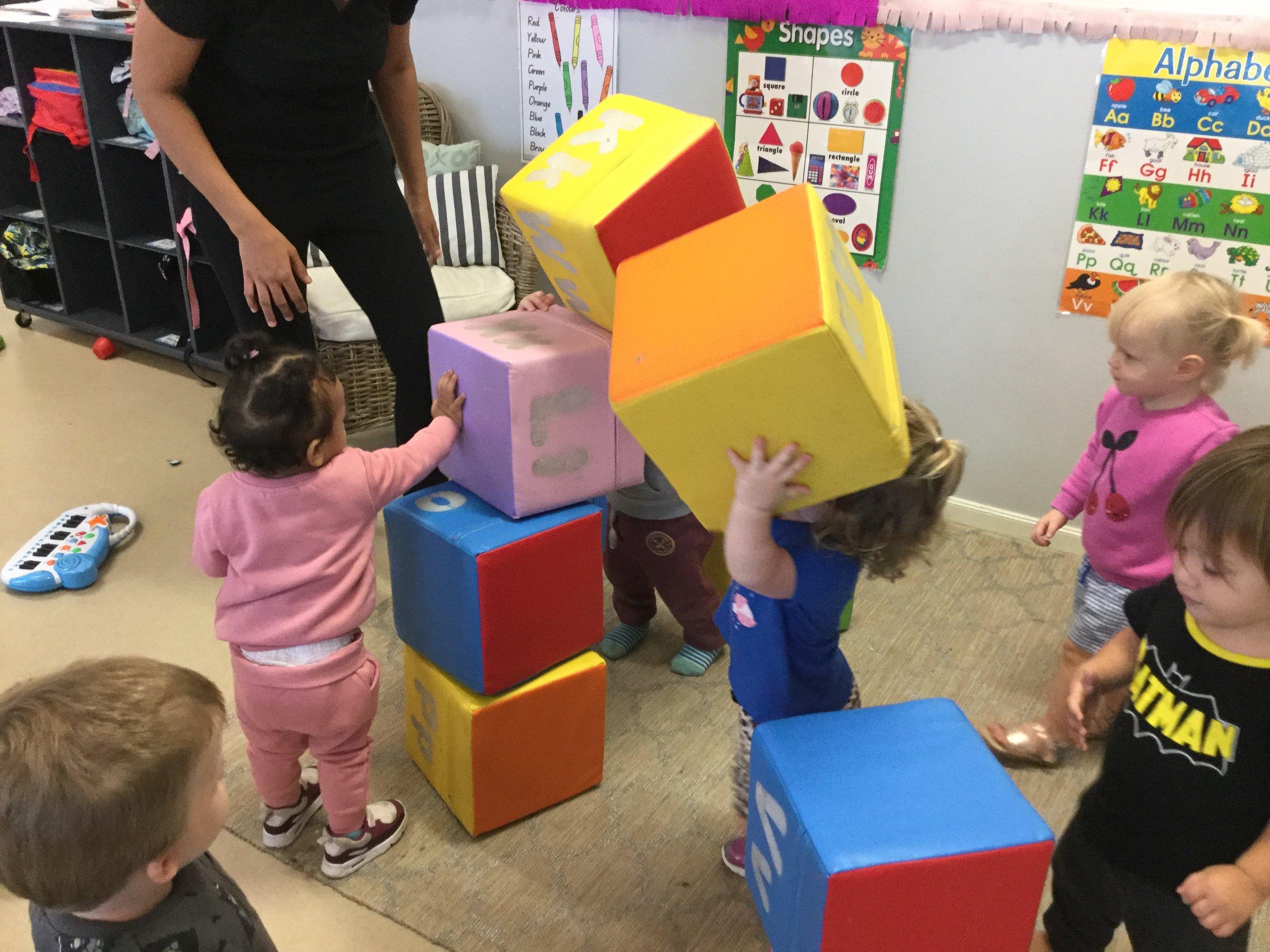 Toddlers fun with blocks