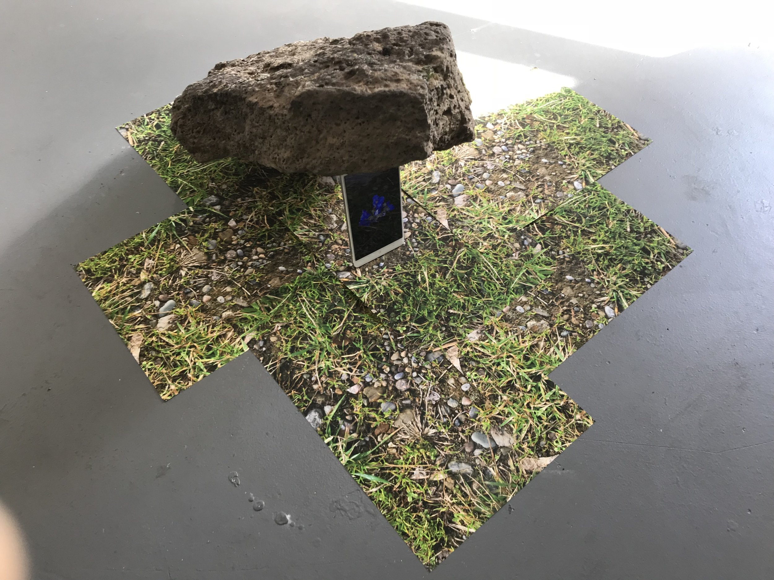 hannah newman  deadfall #6  2018  rock, smartphone, digital prints