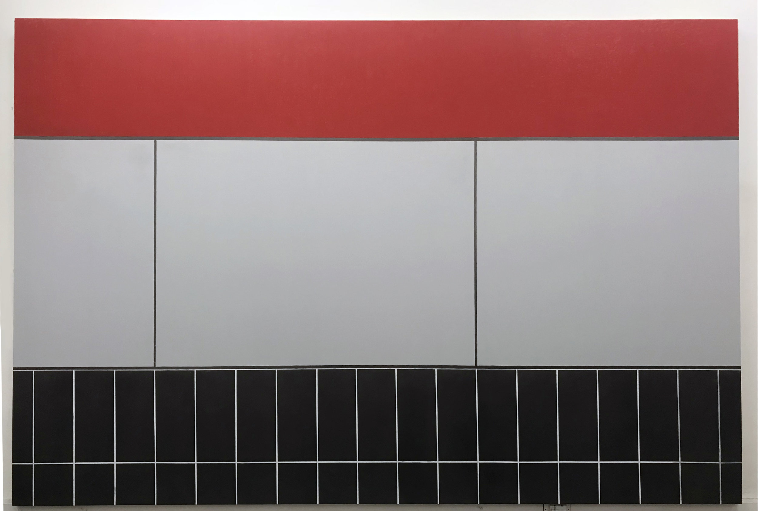 Avantika Bawa    Coliseum Red   Graphite, acrylic and oil stick on panel  80X120 inches  2018