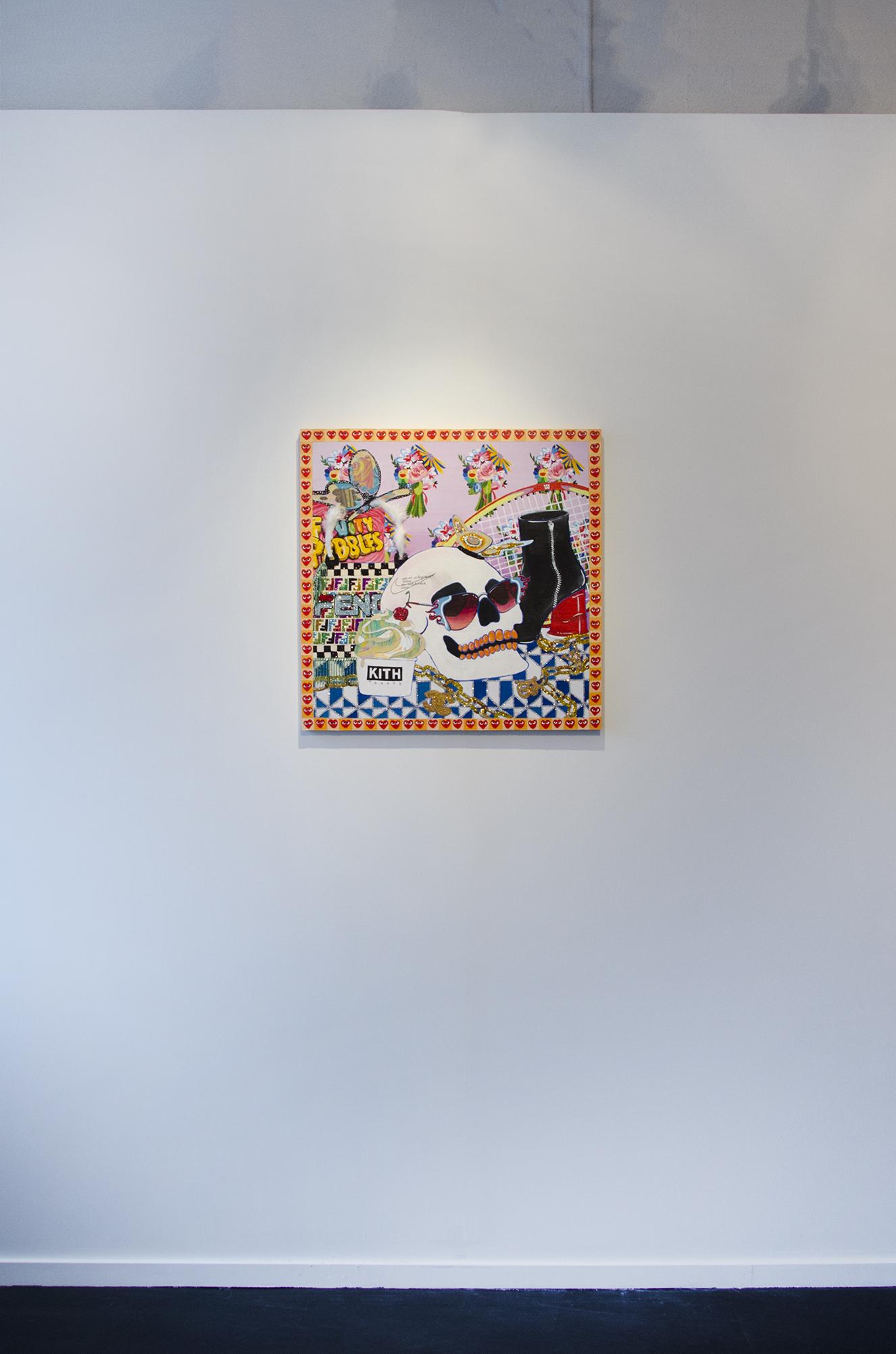 "Rachael Tarravechia     Memento Mori     Acrylic, glitter, rhinestones, paper, and rabbit fur on panel    24""x24""     2018"
