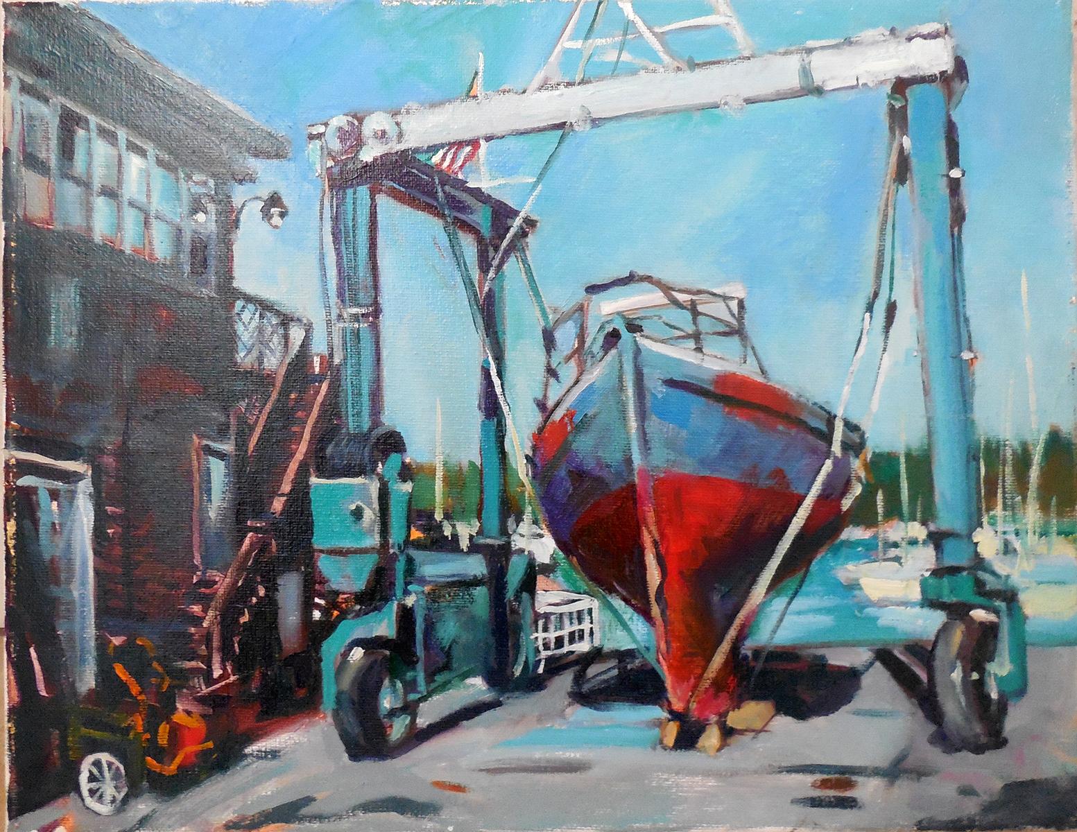 Marine Lift, Oil on canvas (11 x 14)
