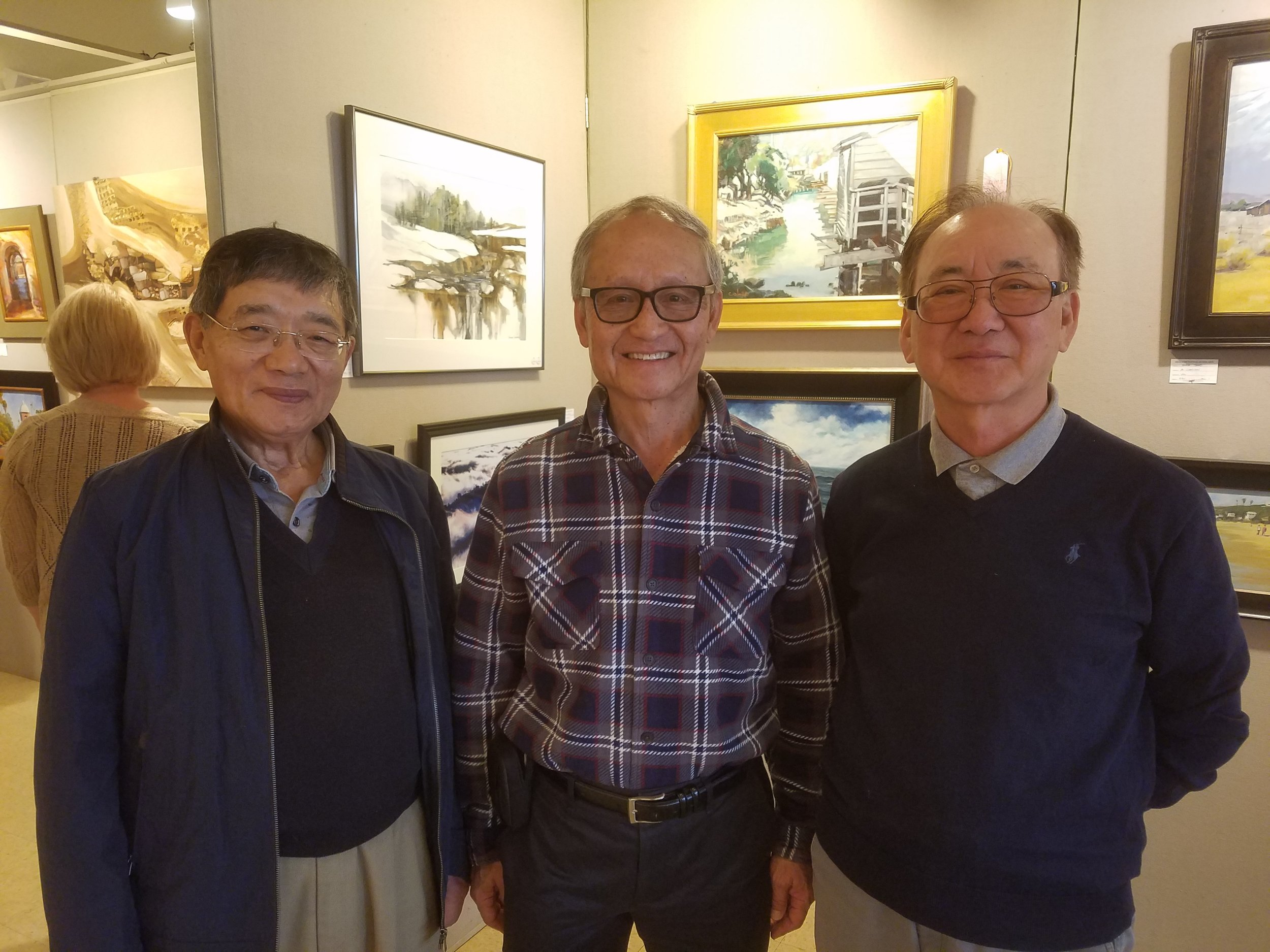 With Walter's patrons, Thomas Choi (right) and Domitian Yoo