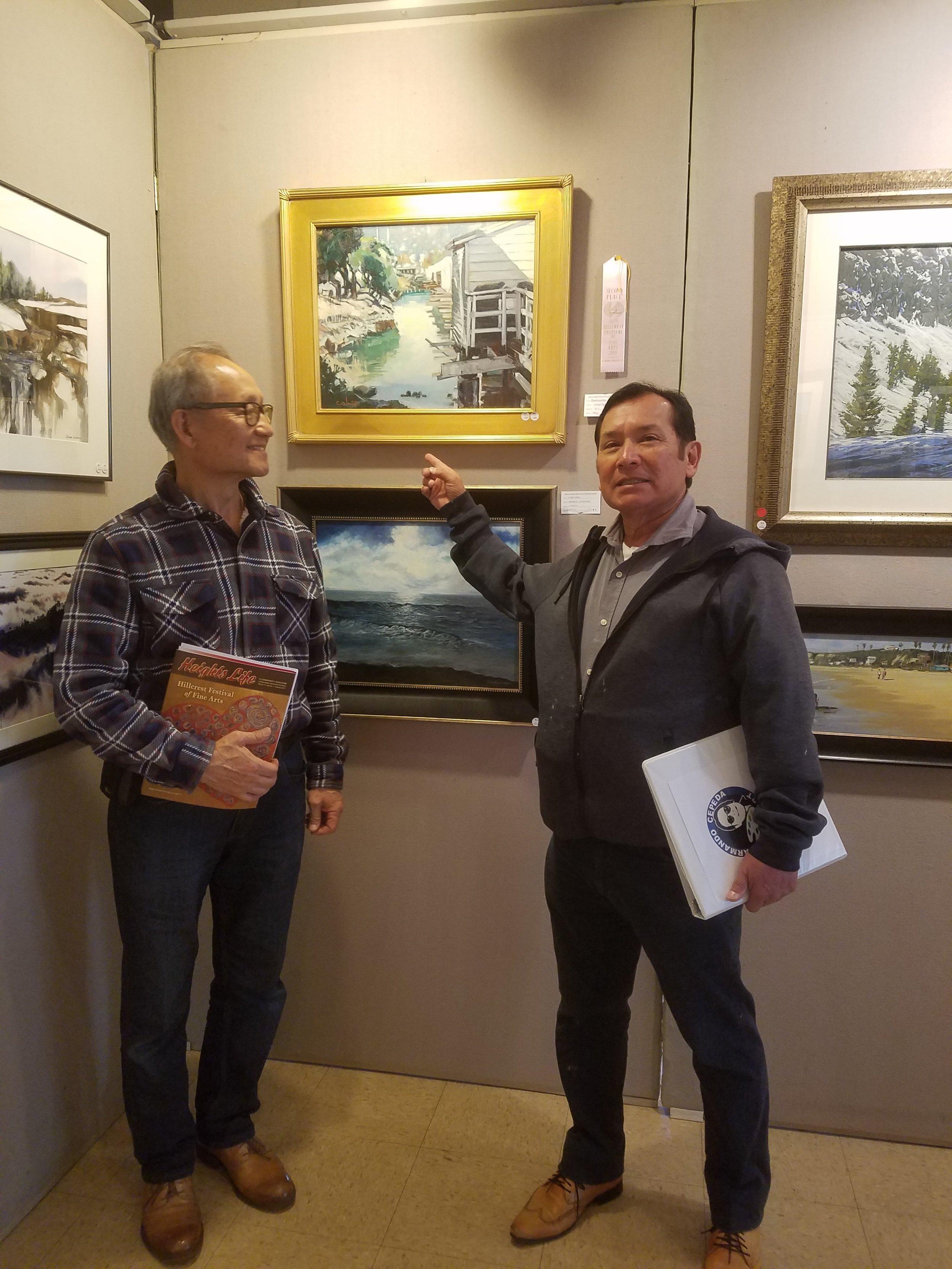 With a fellow artist Armando Cepeda (President of Placentia-Yorba Linda Art Association).