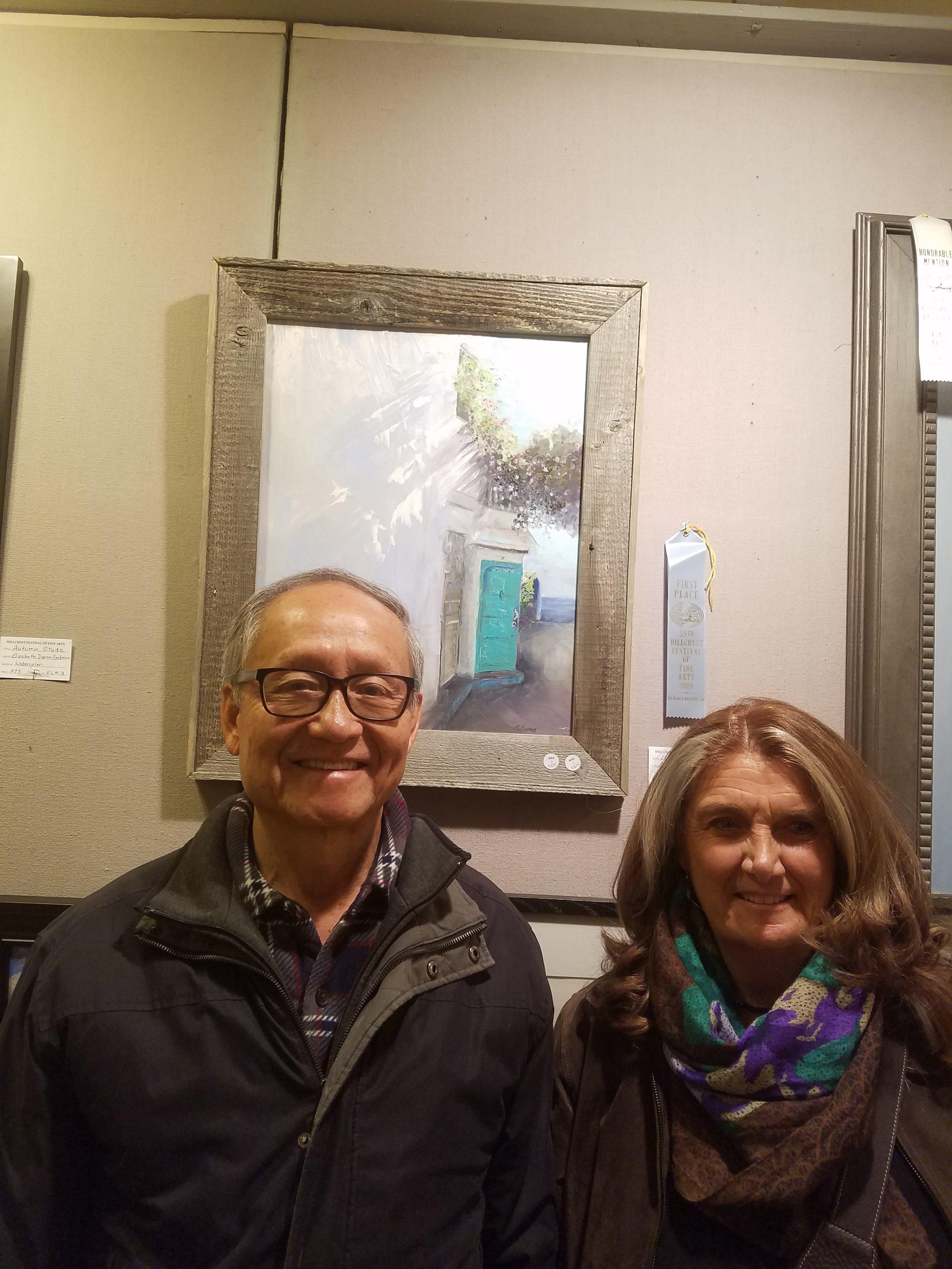 With the First Place winning artist, Monica Edwards (Laguna Plein Air Painters Association member)