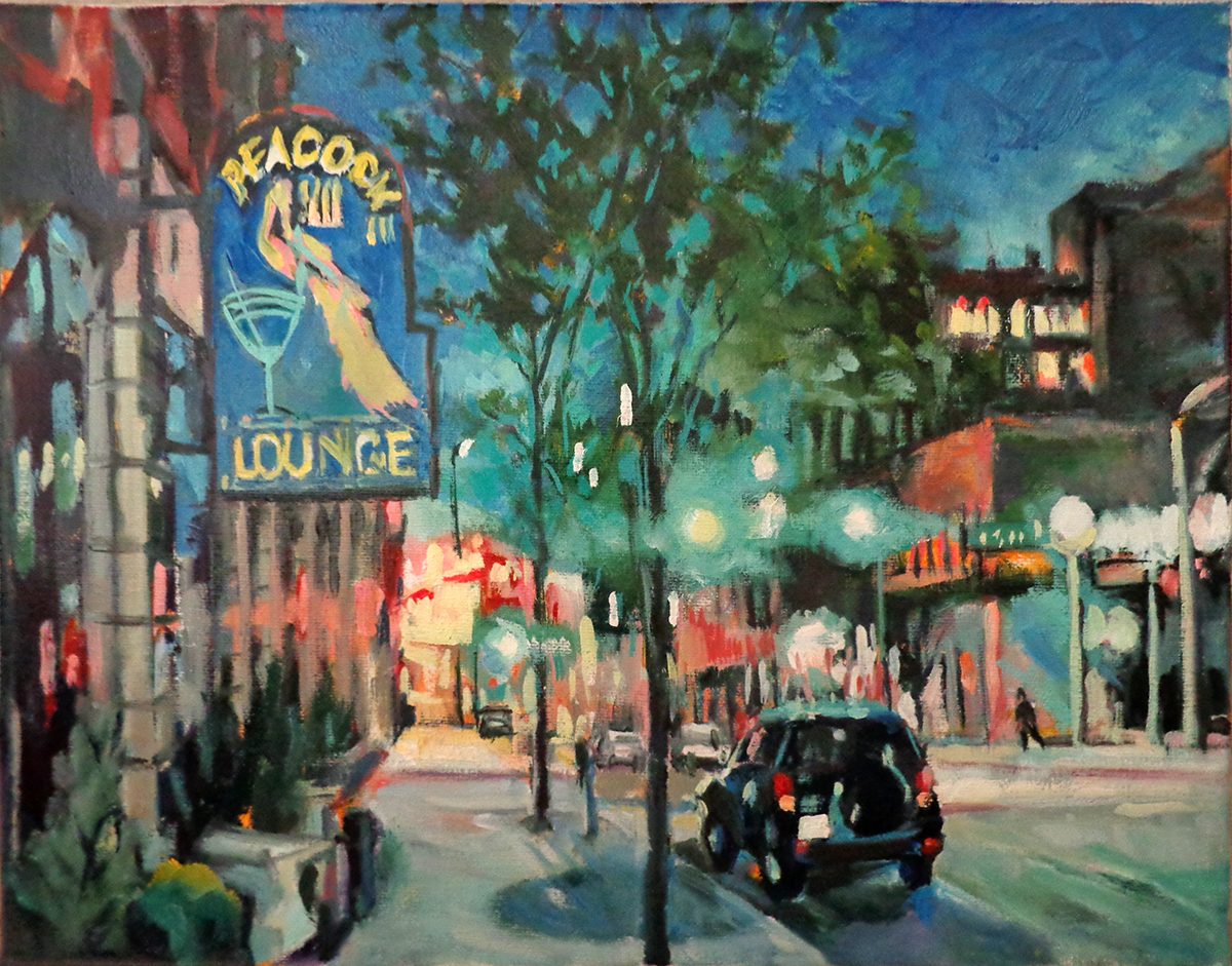 Late Night Lounge (11x14, oil): Red store signs and green traffic lights flood the dark-blue night sky. The contrast in value and temperature make this painting exciting and intriguing.