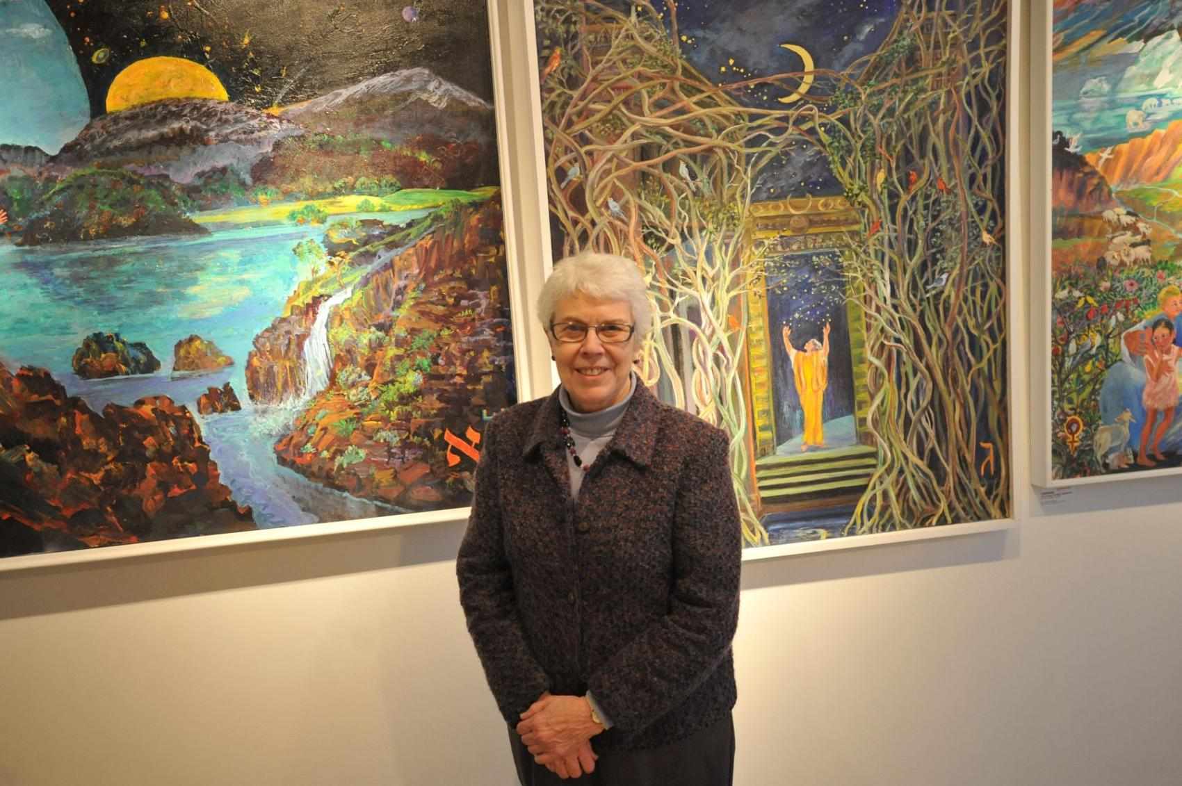 Sister Rosemarie Greco is retiring from Wisdom House after 27 years as executive director of the interfaith center in Litchfield. Here she stands in the Mary Louise Tritchet Gallery, a space she helped establish to bring artists into the center.