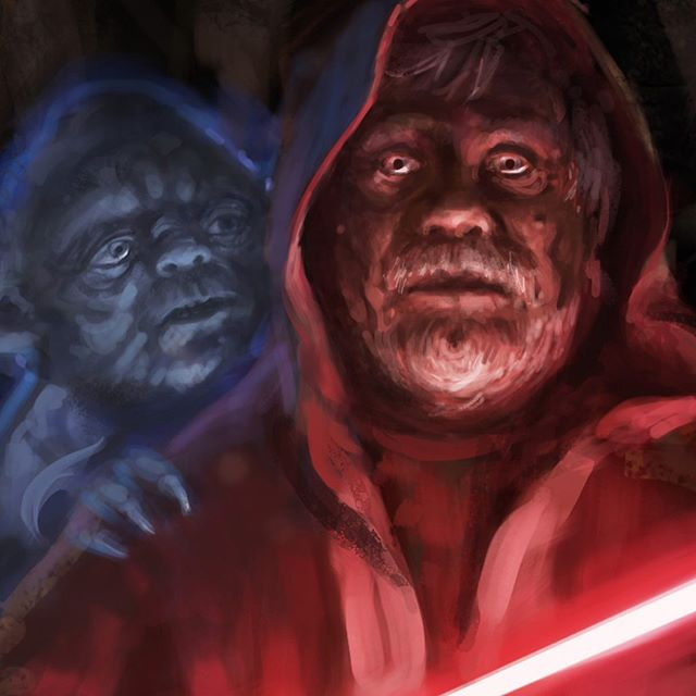 Luke practices the dark arts, under the supervision of Yoda. Concept by Jason Dunn #starwars #lukeskywalker #yoda #conceptart #lucasfilm