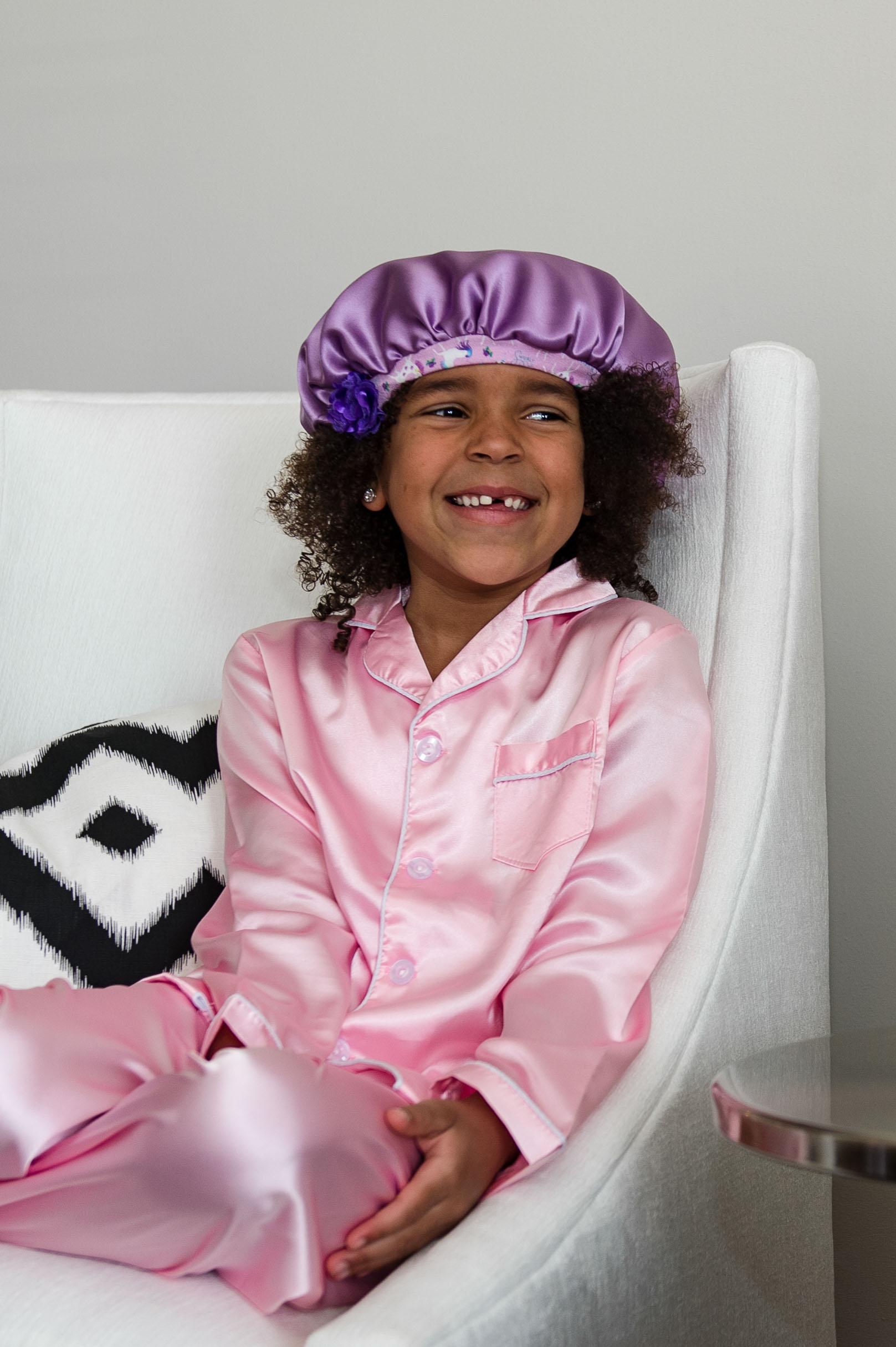 lilac silk protective hair cap