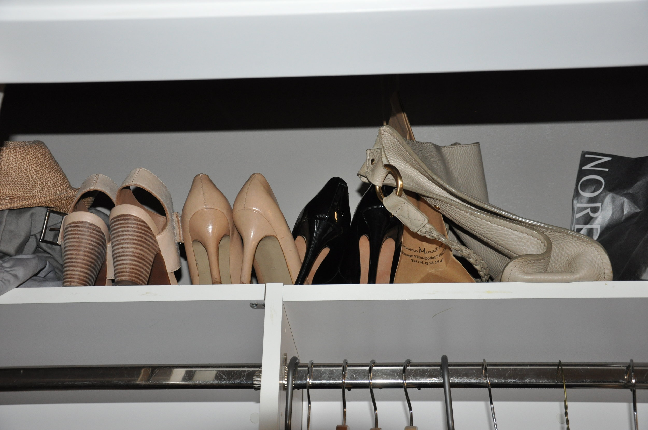 On the very top, I keep fancier, event heels.
