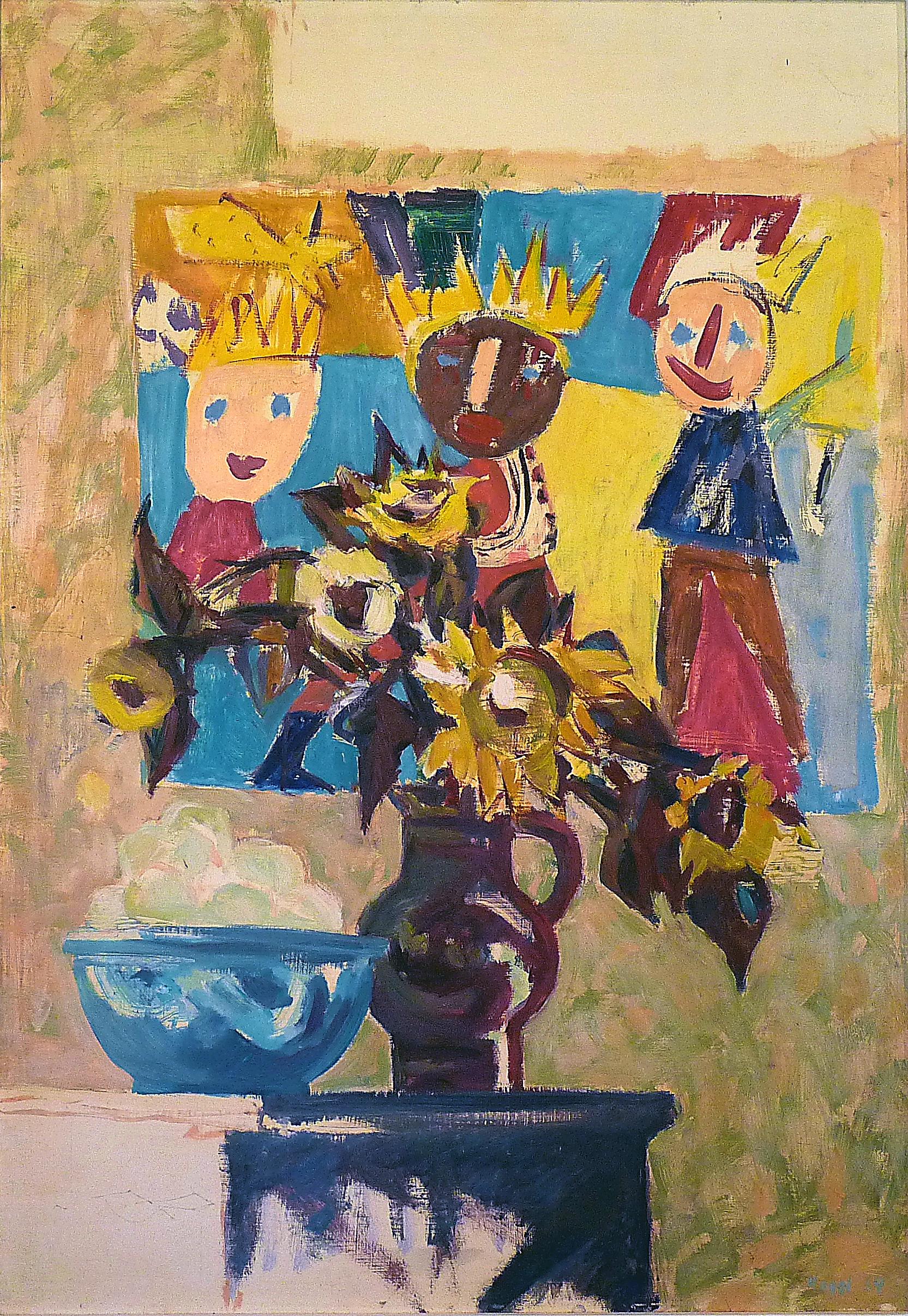 Kinderzeichnung m. Sonnenbl. 70 x 100 cm