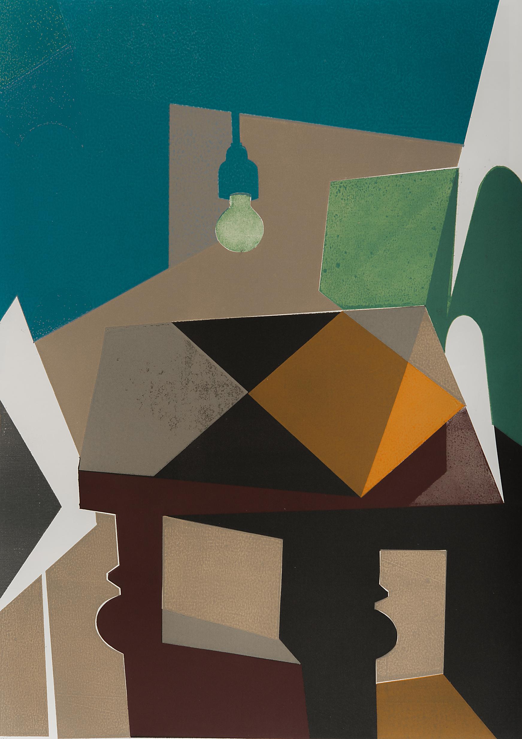 Tisch mit Lampenschatten