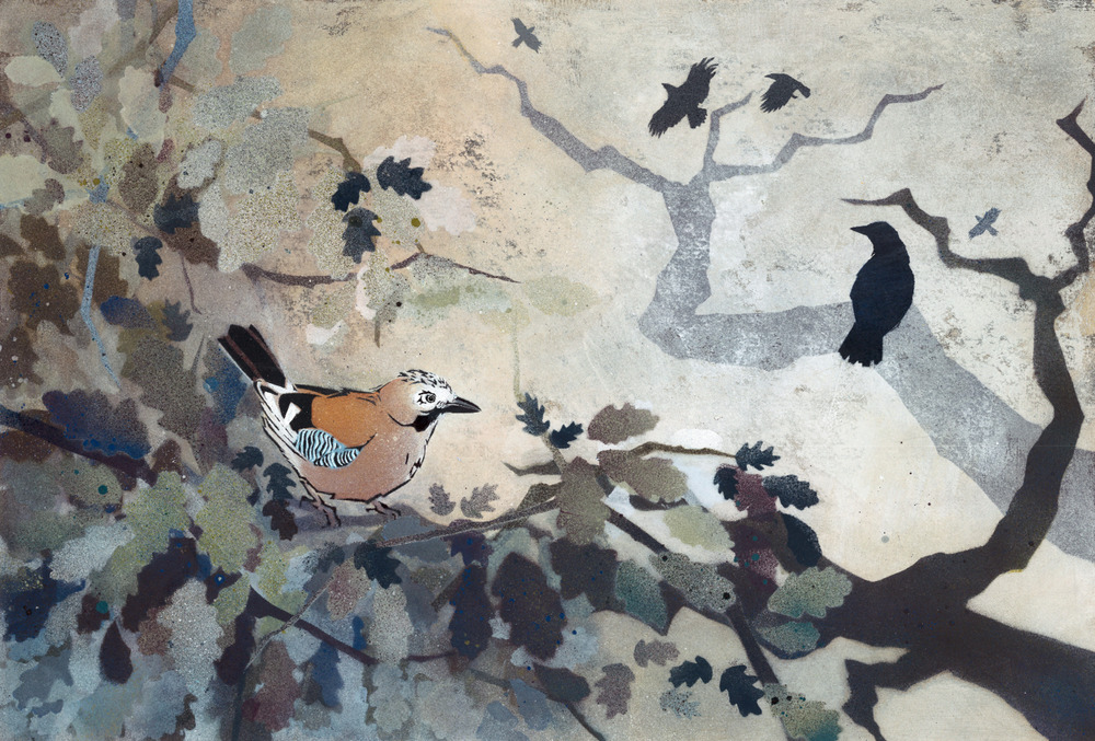 Jays and Crows in Ancient Oak - New Forest
